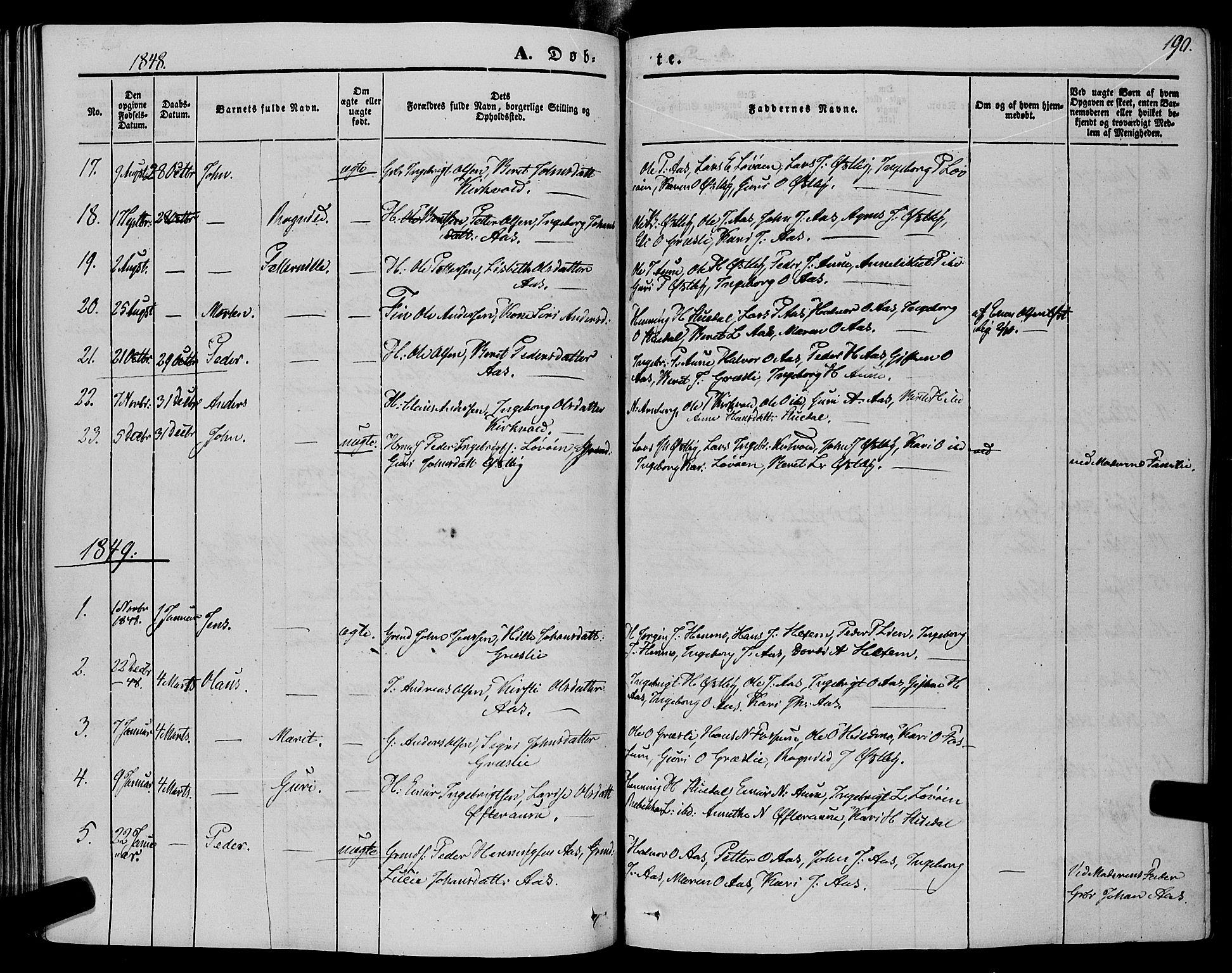 SAT, Ministerialprotokoller, klokkerbøker og fødselsregistre - Sør-Trøndelag, 695/L1146: Ministerialbok nr. 695A06 /2, 1843-1859, s. 190