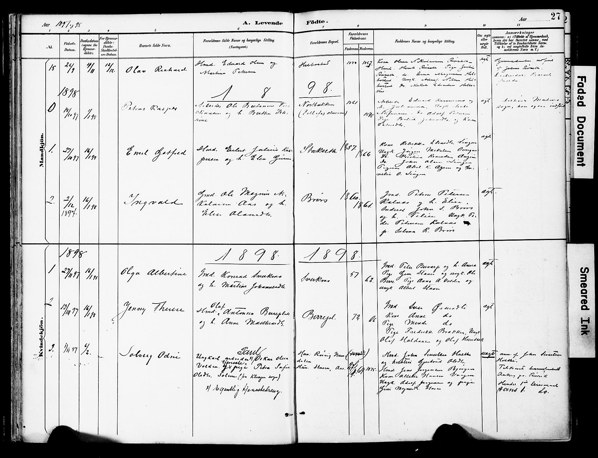 SAT, Ministerialprotokoller, klokkerbøker og fødselsregistre - Nord-Trøndelag, 742/L0409: Ministerialbok nr. 742A02, 1891-1905, s. 27