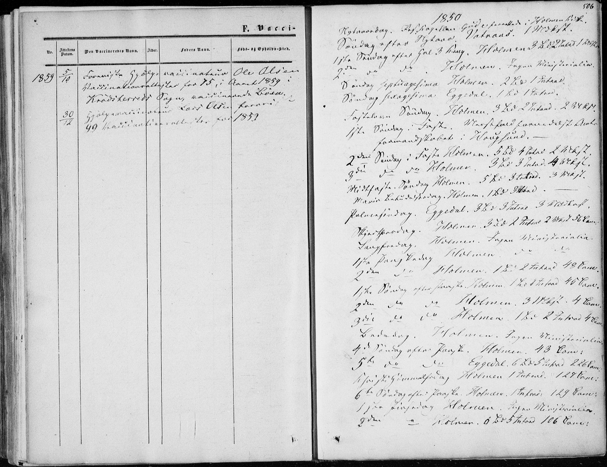 SAKO, Sigdal kirkebøker, F/Fa/L0008: Ministerialbok nr. I 8, 1850-1859, s. 506