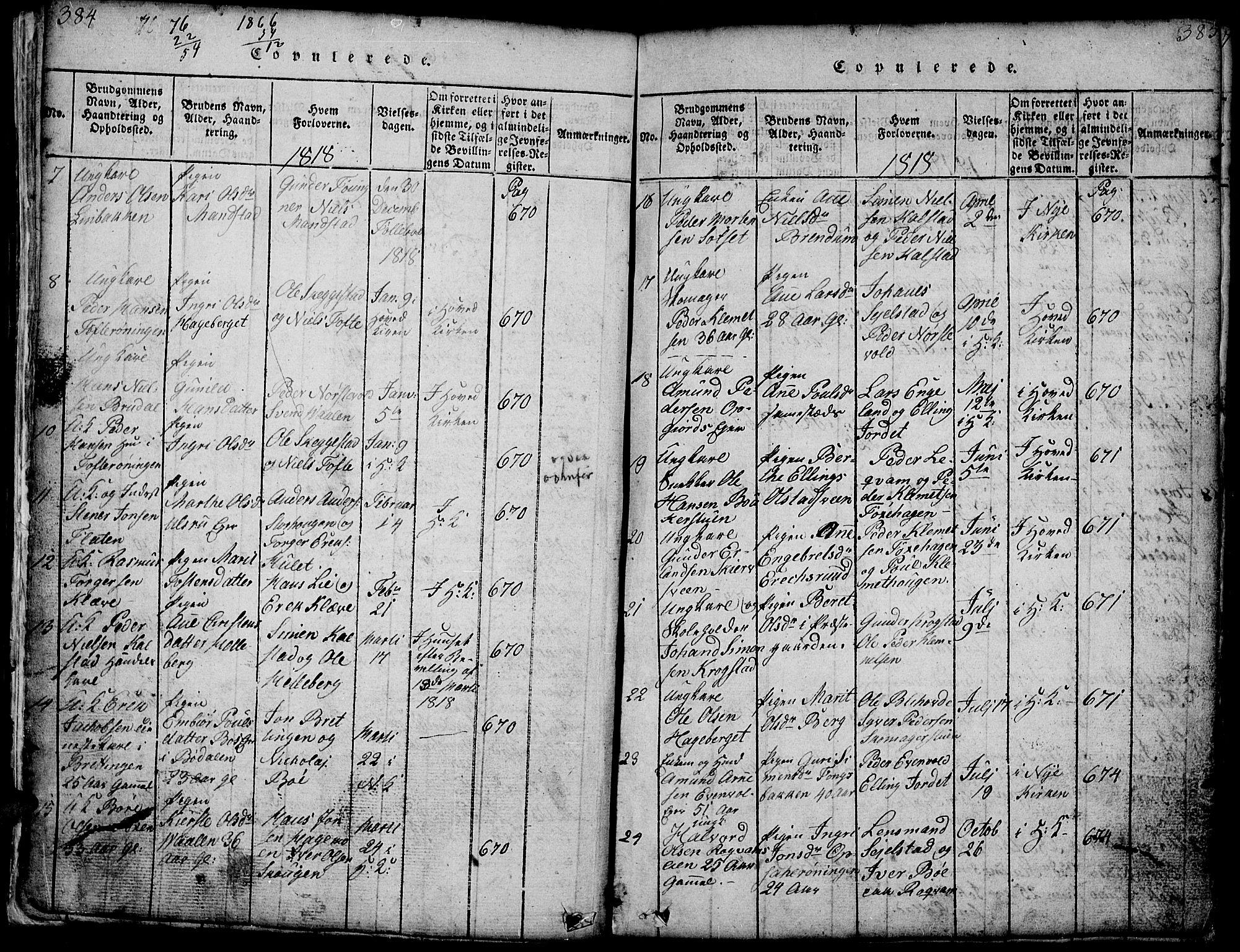 SAH, Gausdal prestekontor, Klokkerbok nr. 1, 1817-1848, s. 384-385