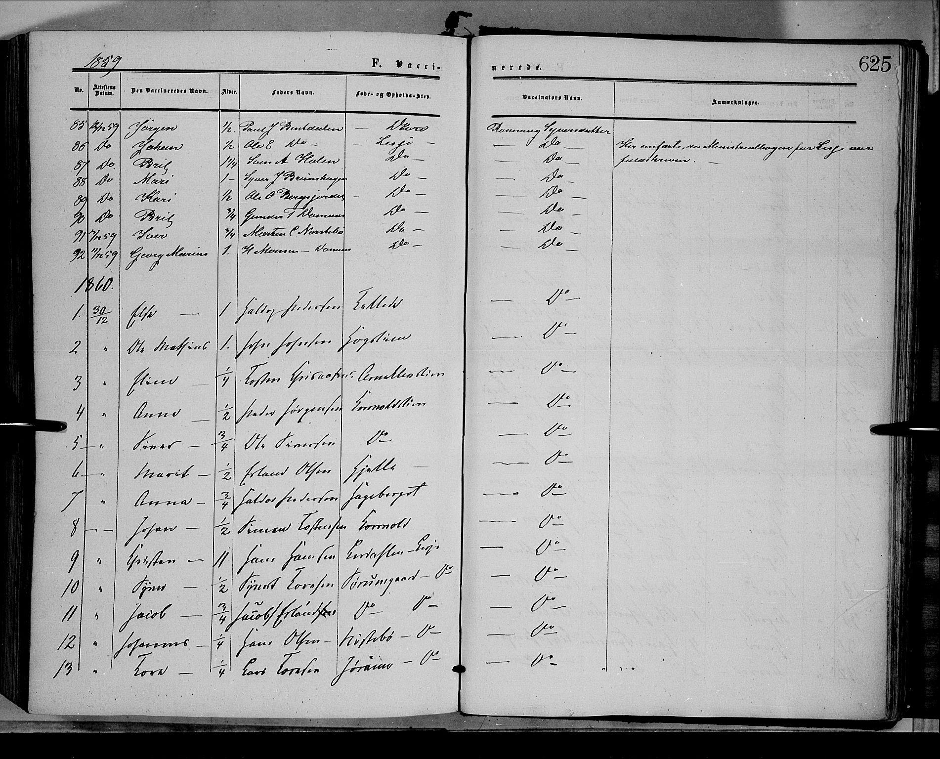 SAH, Dovre prestekontor, Ministerialbok nr. 1, 1854-1878, s. 625
