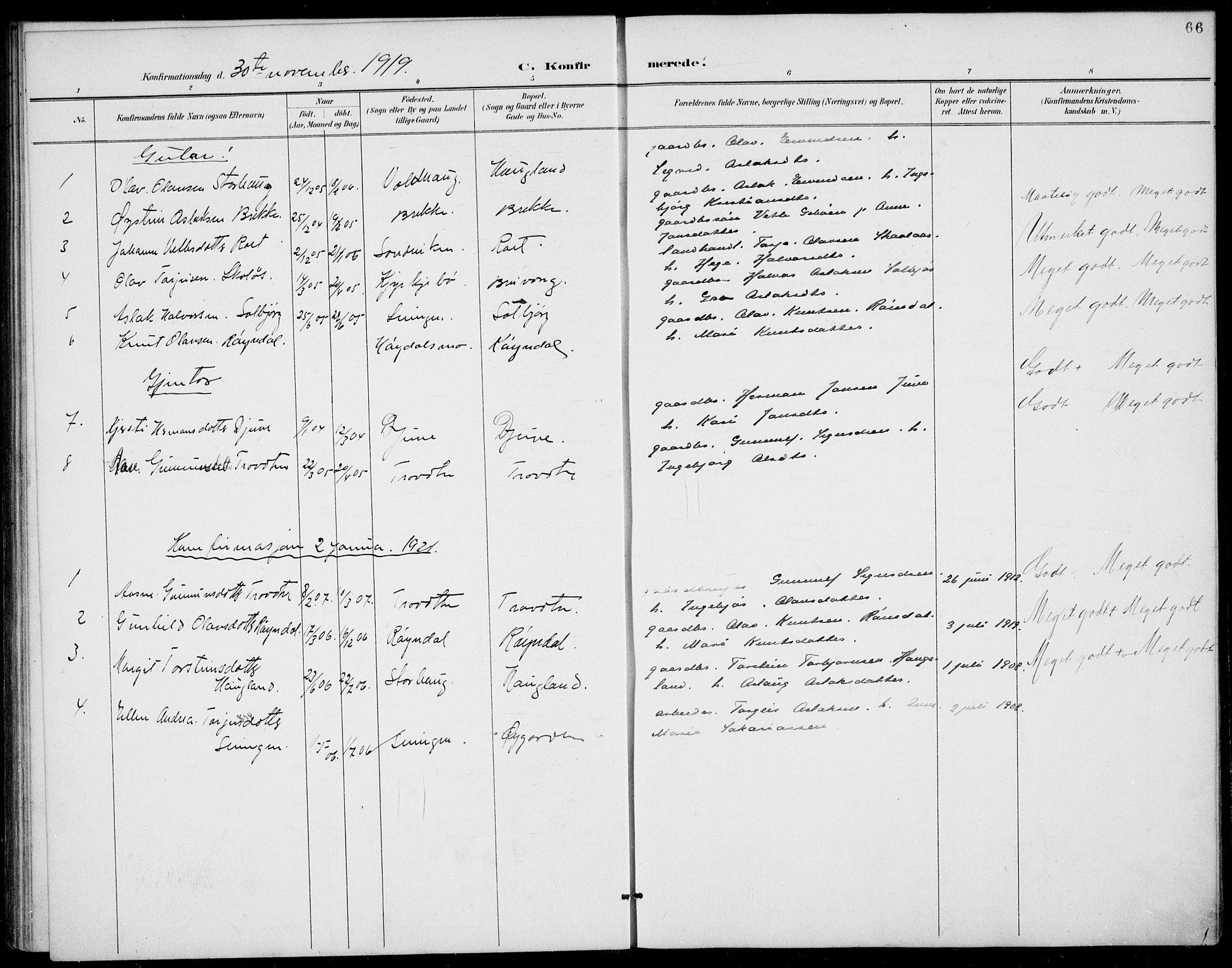 SAKO, Rauland kirkebøker, G/Gb/L0002: Klokkerbok nr. II 2, 1887-1937, s. 66