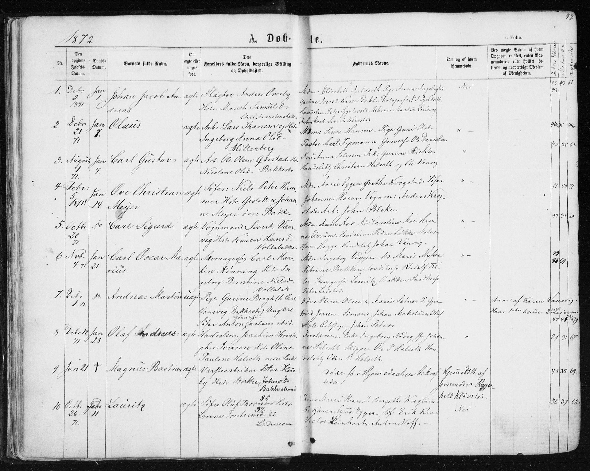 SAT, Ministerialprotokoller, klokkerbøker og fødselsregistre - Sør-Trøndelag, 604/L0186: Ministerialbok nr. 604A07, 1866-1877, s. 49