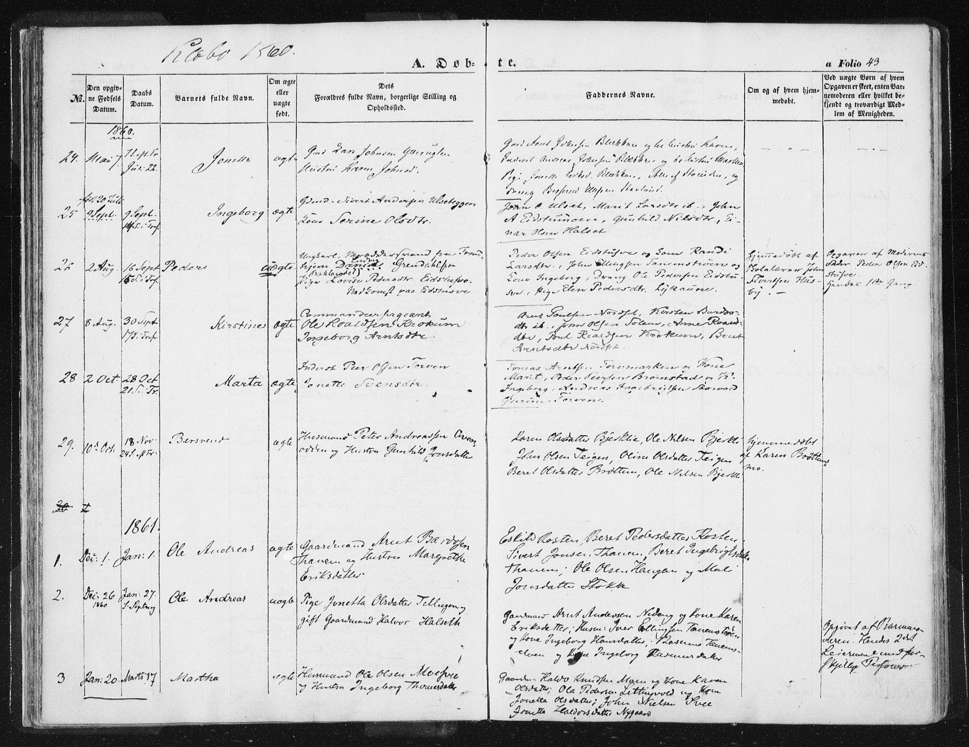 SAT, Ministerialprotokoller, klokkerbøker og fødselsregistre - Sør-Trøndelag, 618/L0441: Ministerialbok nr. 618A05, 1843-1862, s. 43