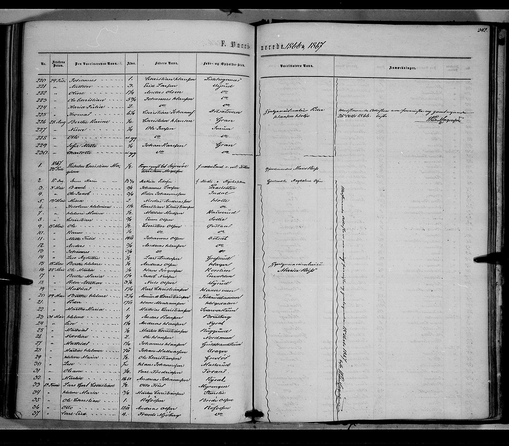 SAH, Vestre Toten prestekontor, Ministerialbok nr. 7, 1862-1869, s. 342