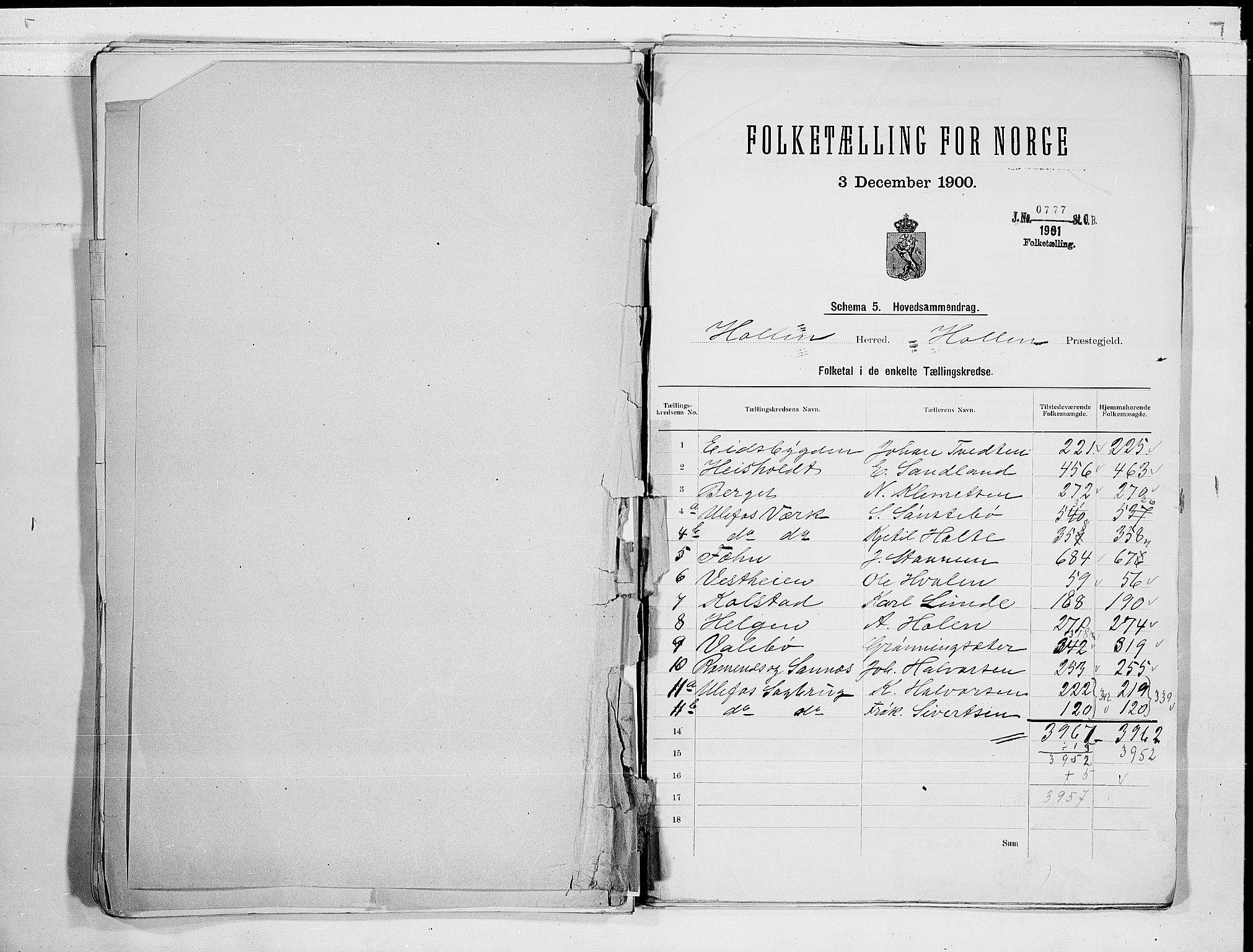 SAKO, Folketelling 1900 for 0819 Holla herred, 1900, s. 2