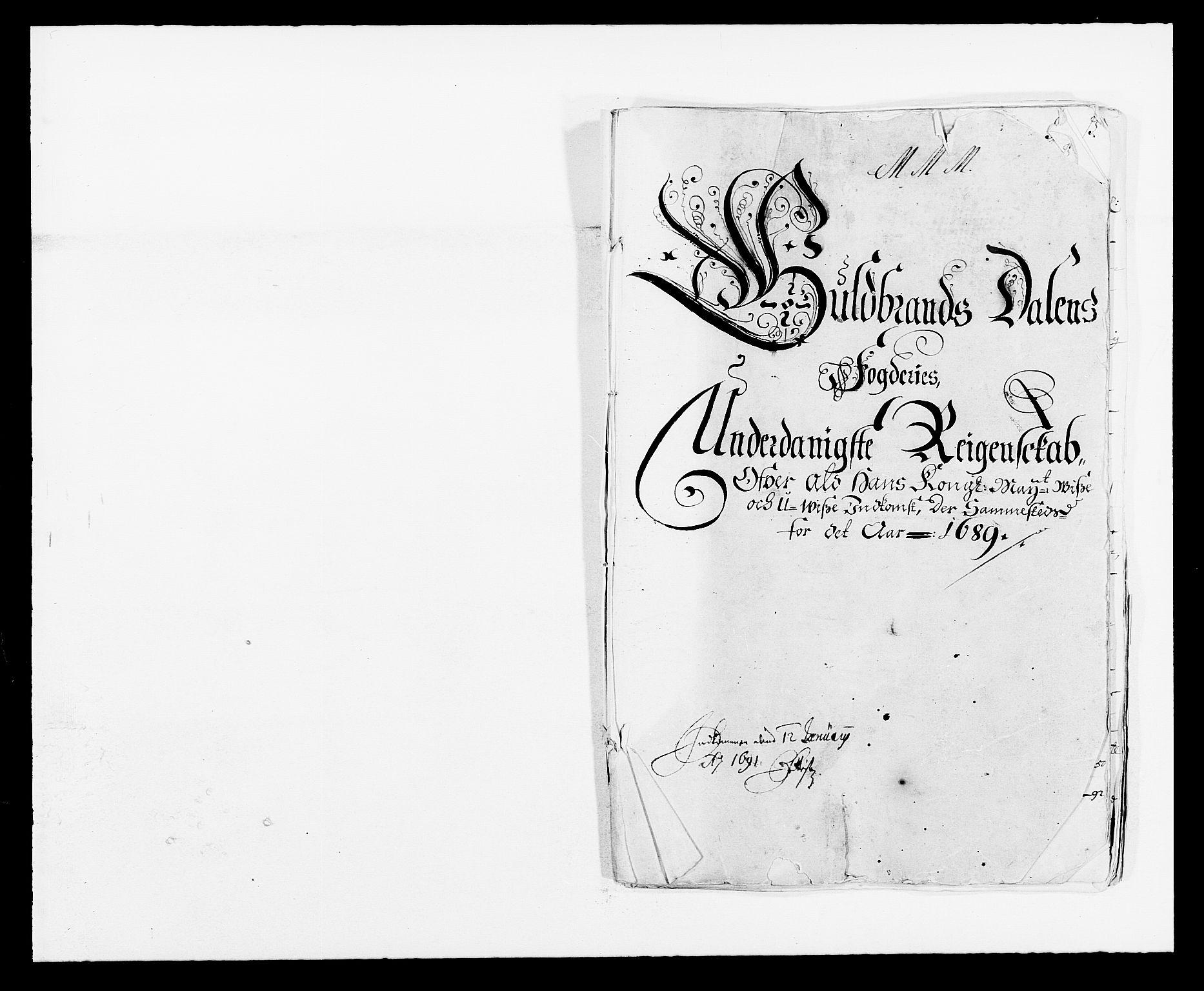 RA, Rentekammeret inntil 1814, Reviderte regnskaper, Fogderegnskap, R17/L1164: Fogderegnskap Gudbrandsdal, 1682-1689, s. 1
