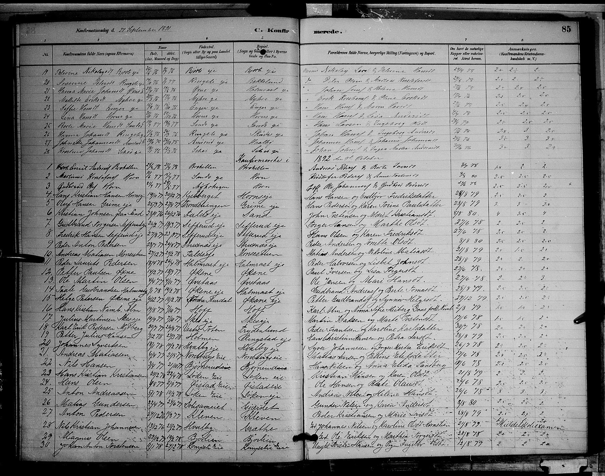 SAH, Søndre Land prestekontor, L/L0002: Klokkerbok nr. 2, 1884-1900, s. 85