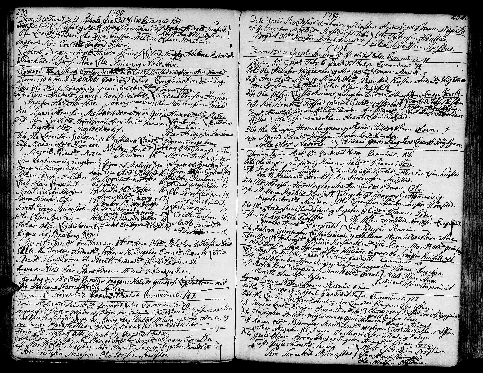 SAT, Ministerialprotokoller, klokkerbøker og fødselsregistre - Sør-Trøndelag, 606/L0281: Ministerialbok nr. 606A02 /2, 1781-1817, s. 233-234