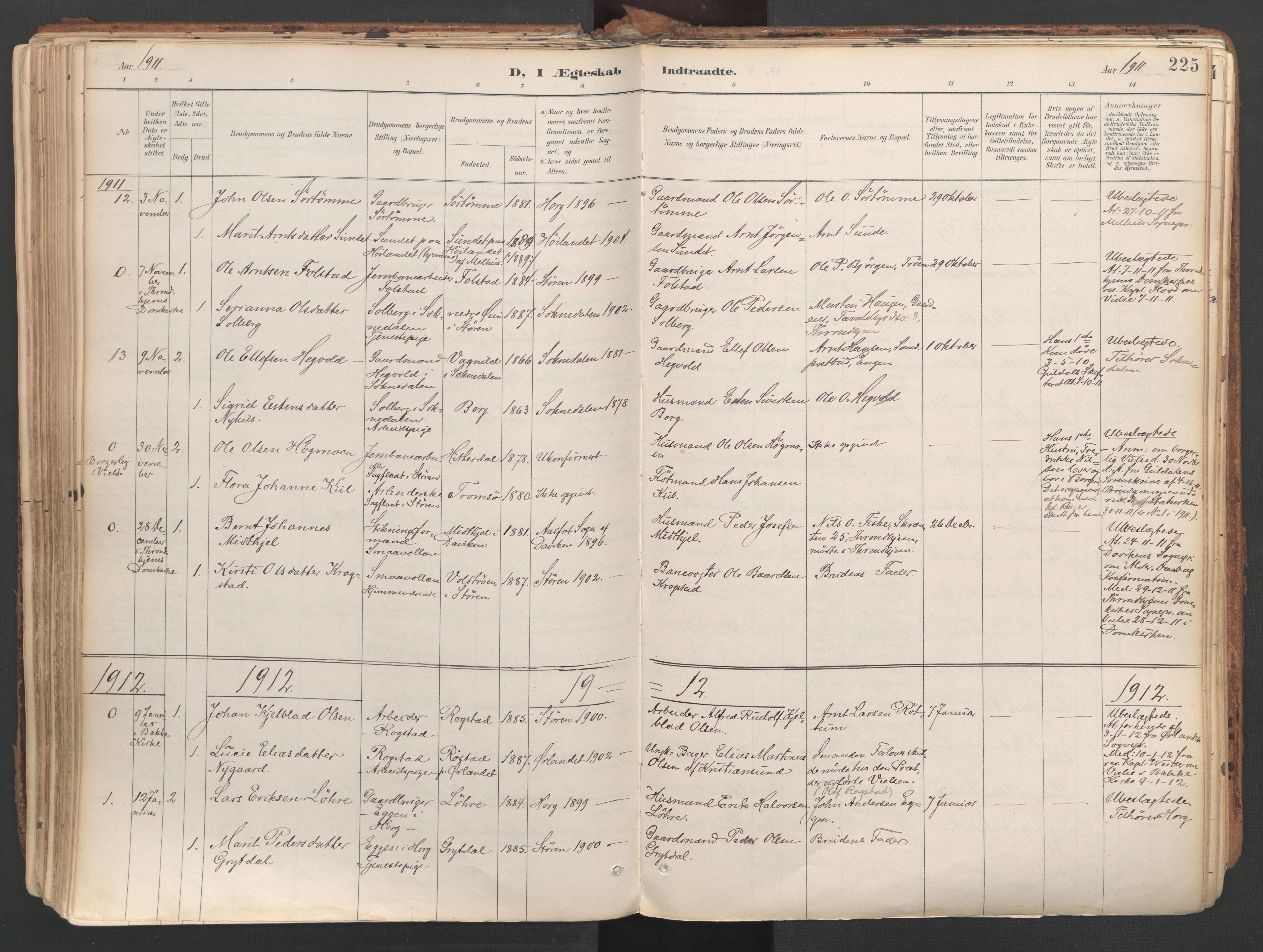 SAT, Ministerialprotokoller, klokkerbøker og fødselsregistre - Sør-Trøndelag, 687/L1004: Ministerialbok nr. 687A10, 1891-1923, s. 225