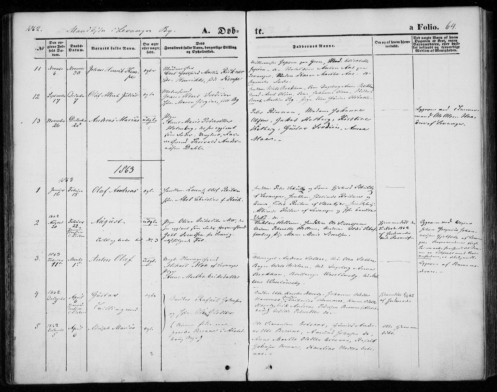SAT, Ministerialprotokoller, klokkerbøker og fødselsregistre - Nord-Trøndelag, 720/L0184: Ministerialbok nr. 720A02 /1, 1855-1863, s. 64