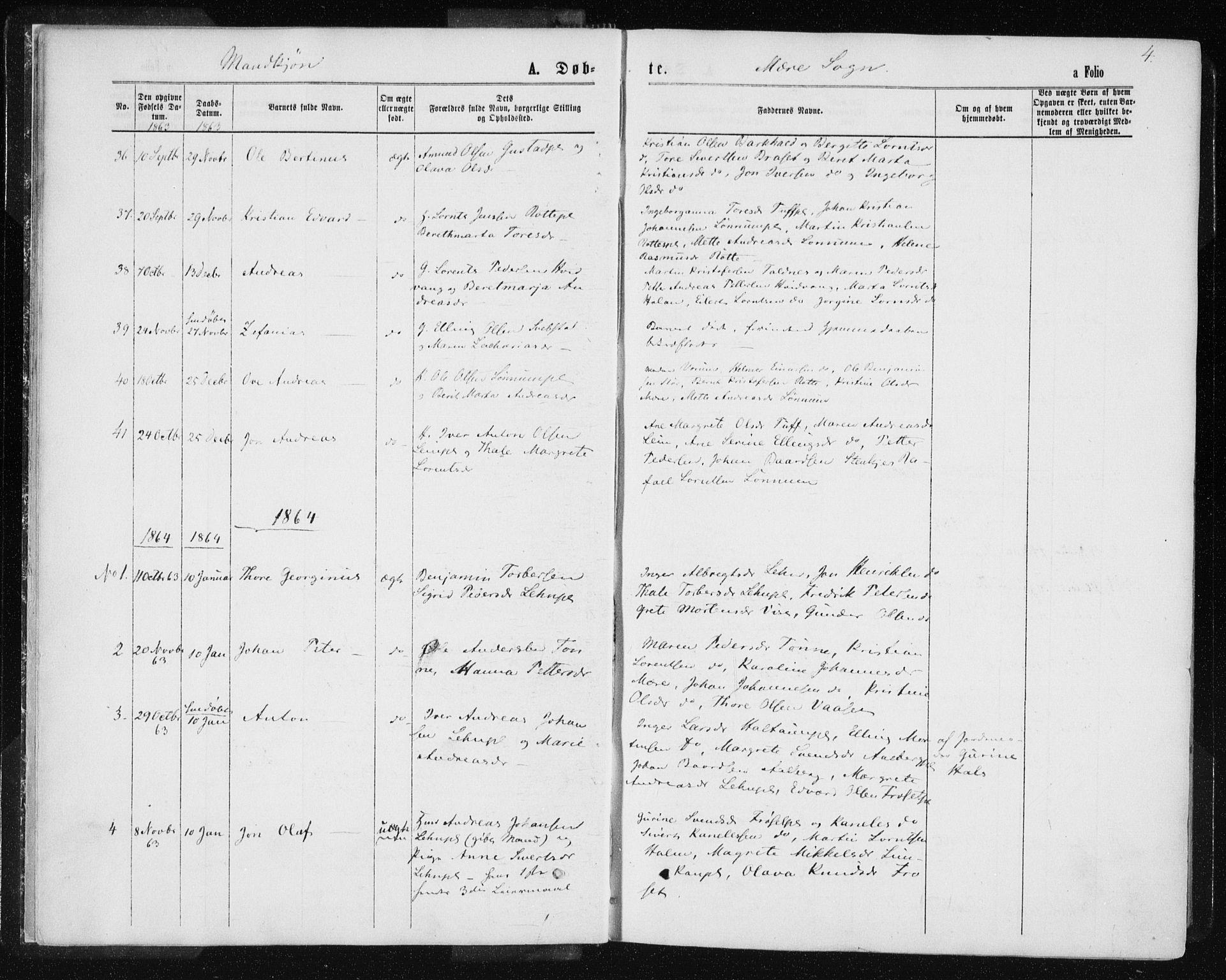 SAT, Ministerialprotokoller, klokkerbøker og fødselsregistre - Nord-Trøndelag, 735/L0345: Ministerialbok nr. 735A08 /1, 1863-1872, s. 4