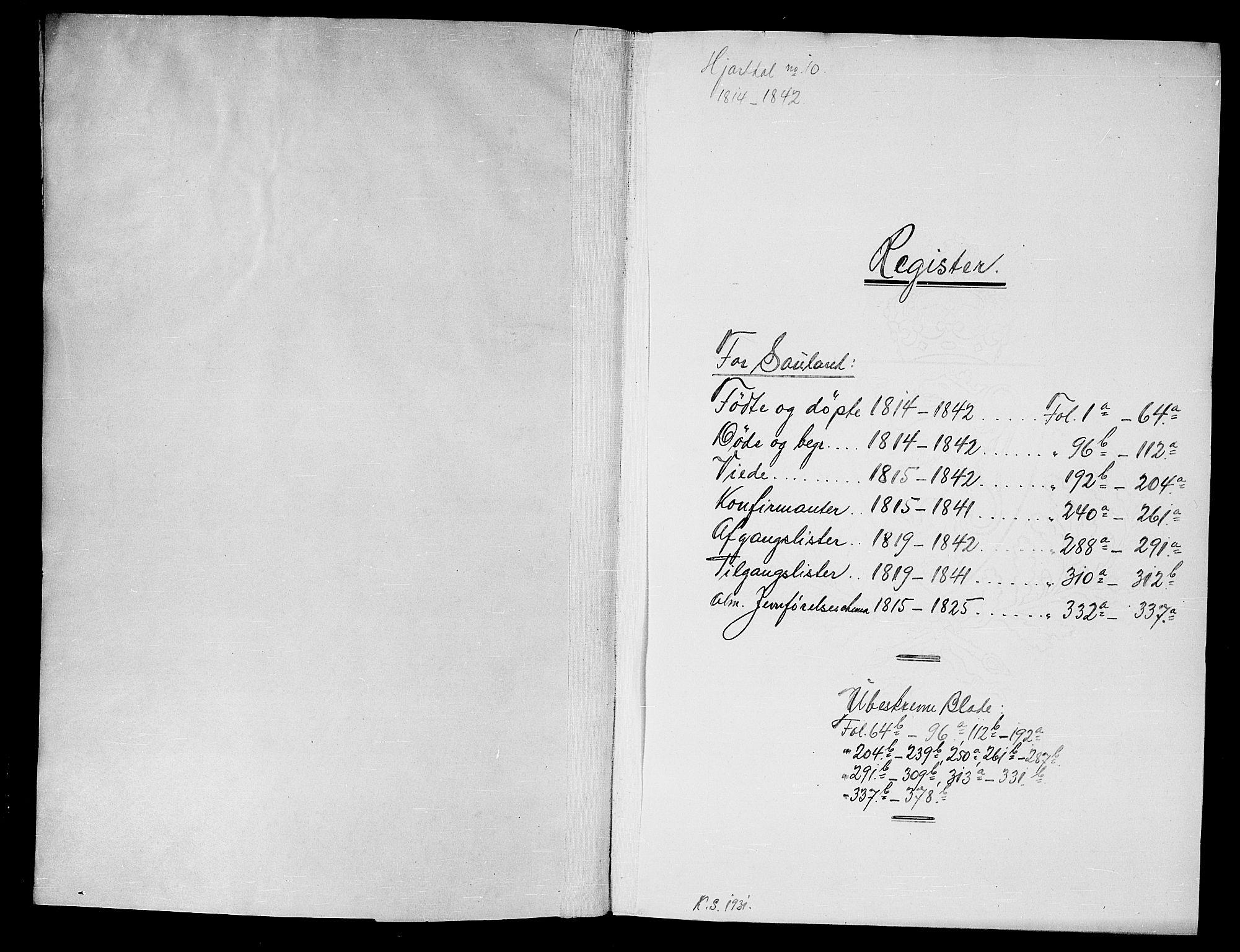SAKO, Hjartdal kirkebøker, G/Gb/L0001: Klokkerbok nr. II 1, 1815-1842