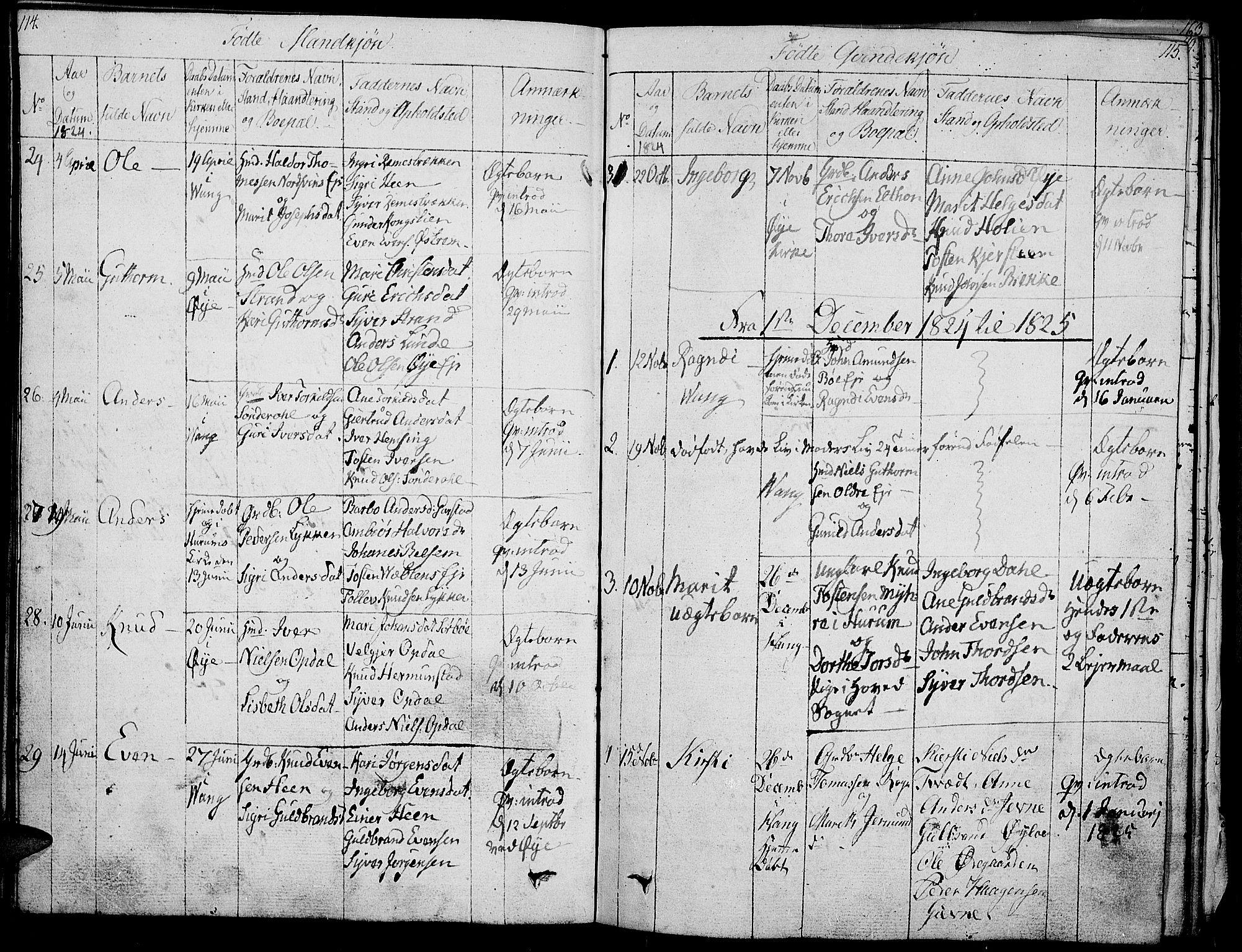 SAH, Vang prestekontor, Valdres, Ministerialbok nr. 3, 1809-1831, s. 114-115