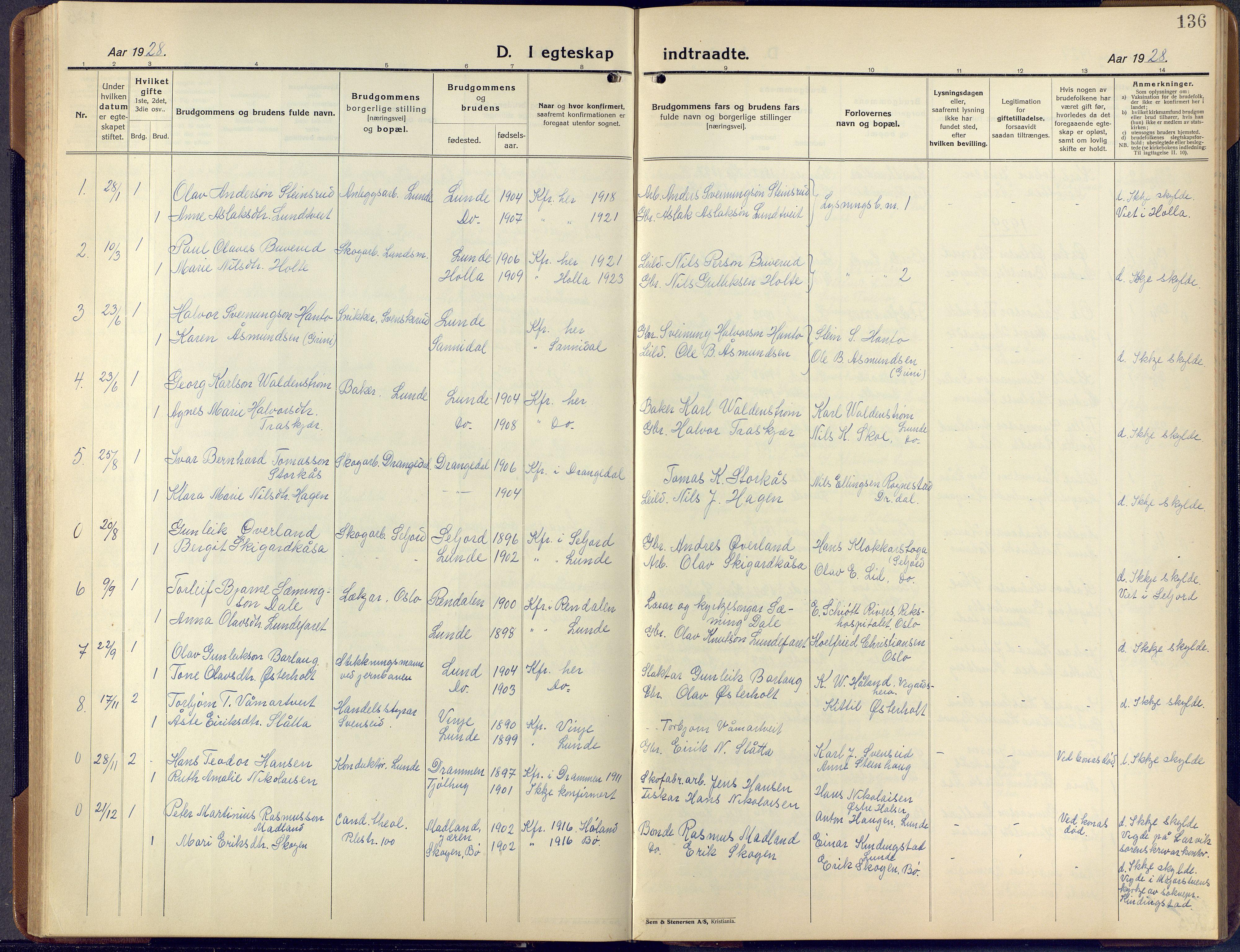 SAKO, Lunde kirkebøker, F/Fa/L0006: Ministerialbok nr. I 6, 1922-1940, s. 136