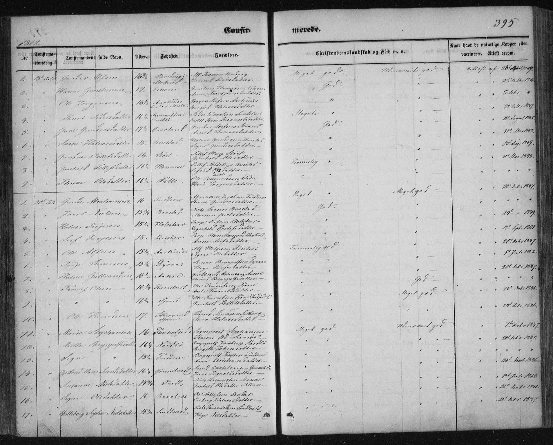 SAKO, Nissedal kirkebøker, F/Fa/L0003: Ministerialbok nr. I 3, 1846-1870, s. 394-395