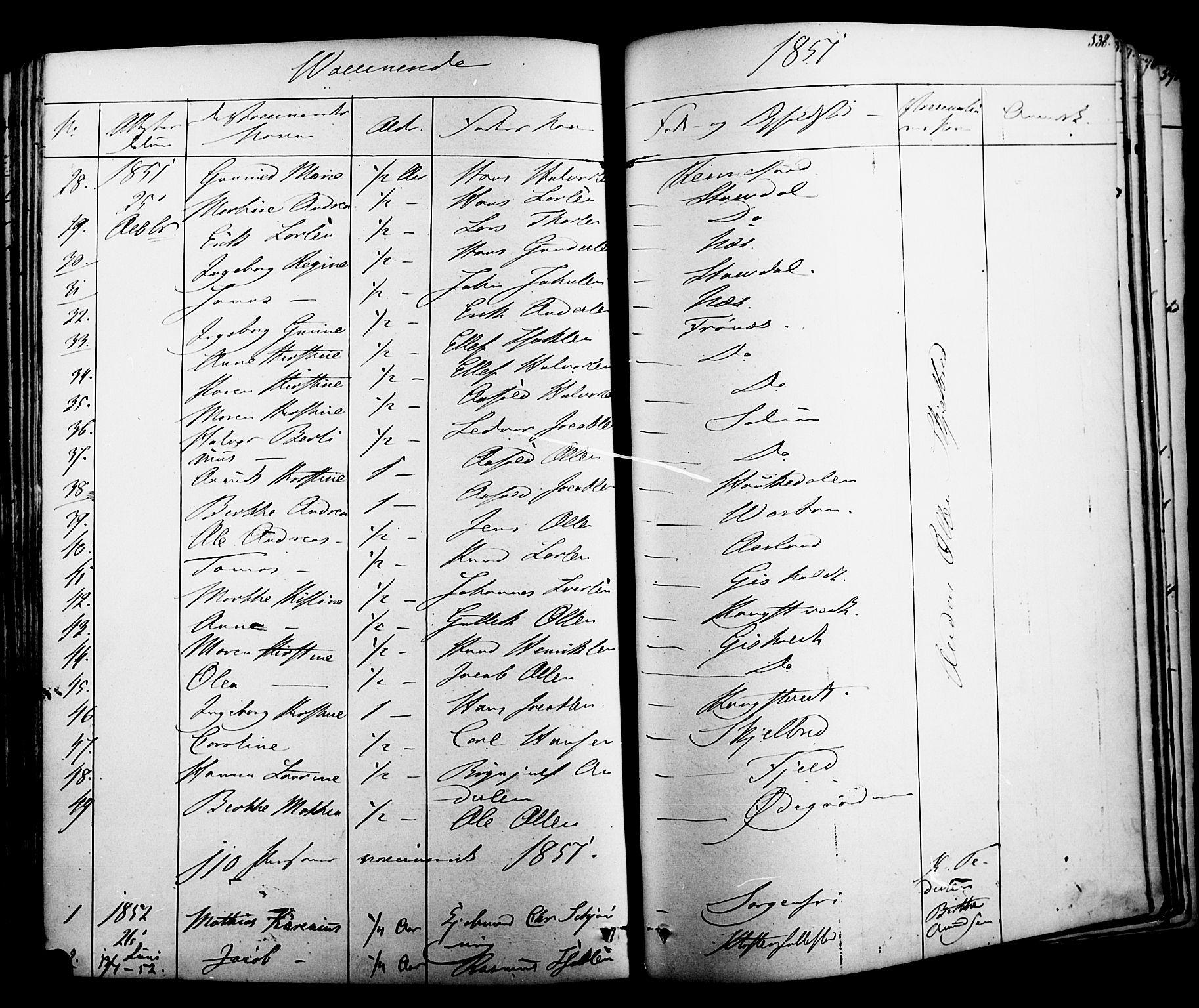 SAKO, Solum kirkebøker, F/Fa/L0006: Ministerialbok nr. I 6, 1844-1855, s. 538