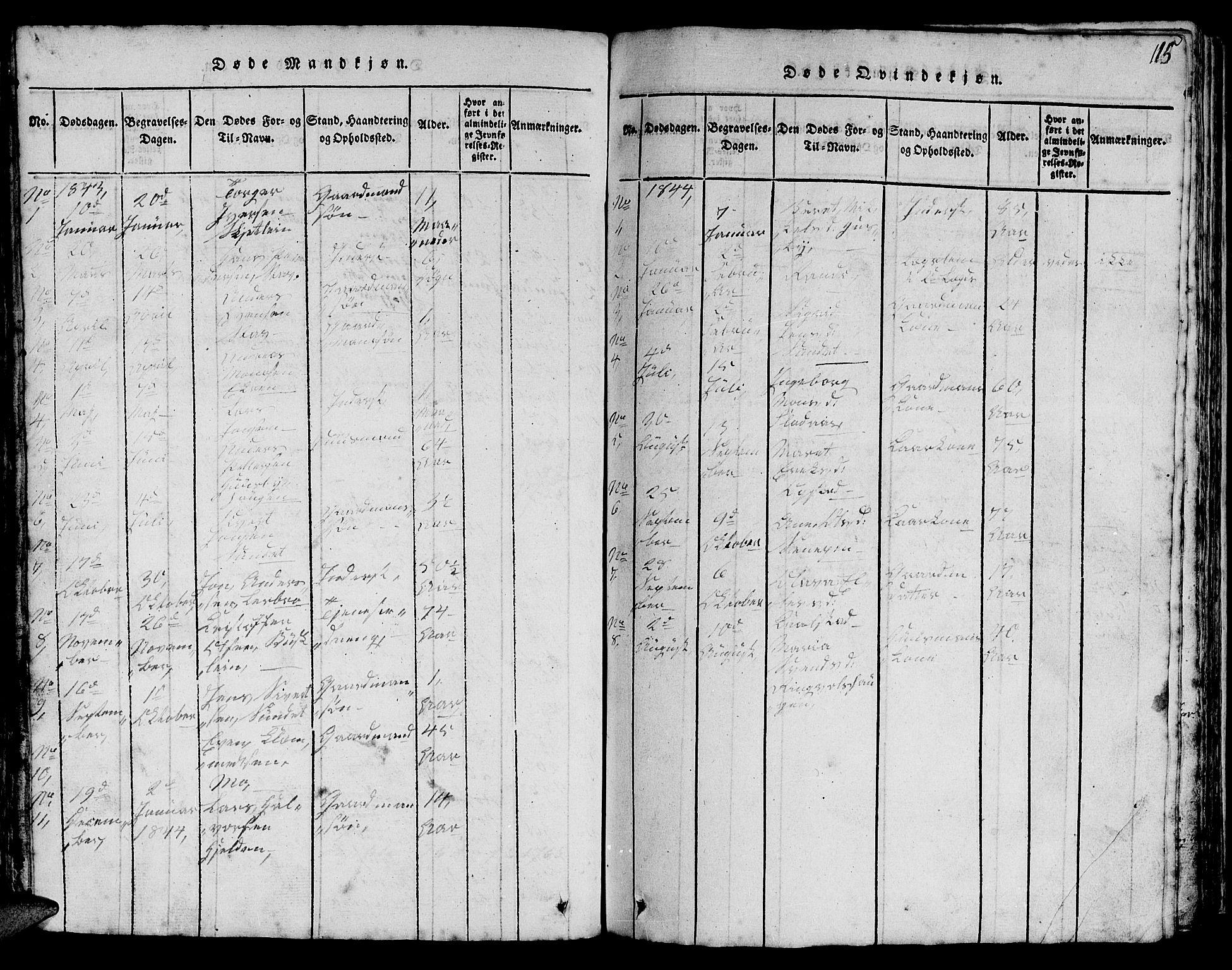 SAT, Ministerialprotokoller, klokkerbøker og fødselsregistre - Sør-Trøndelag, 613/L0393: Klokkerbok nr. 613C01, 1816-1886, s. 115