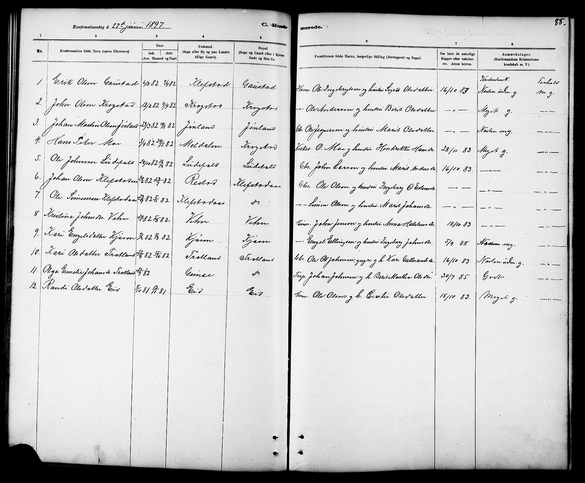 SAT, Ministerialprotokoller, klokkerbøker og fødselsregistre - Sør-Trøndelag, 694/L1132: Klokkerbok nr. 694C04, 1887-1914, s. 88