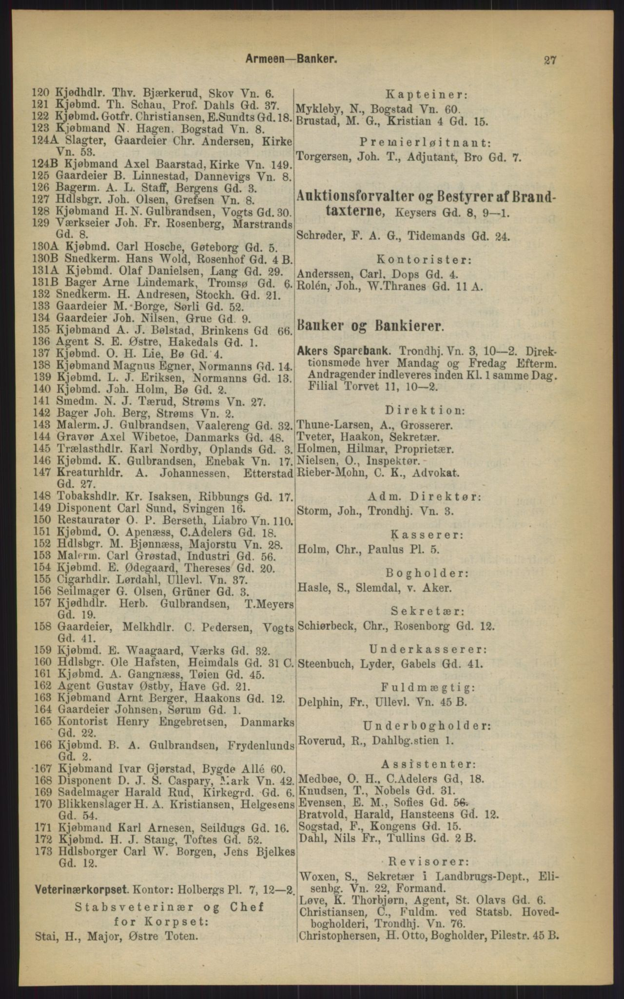 RA, Kristiania adressebok (publikasjon)*, 1903, s. 27