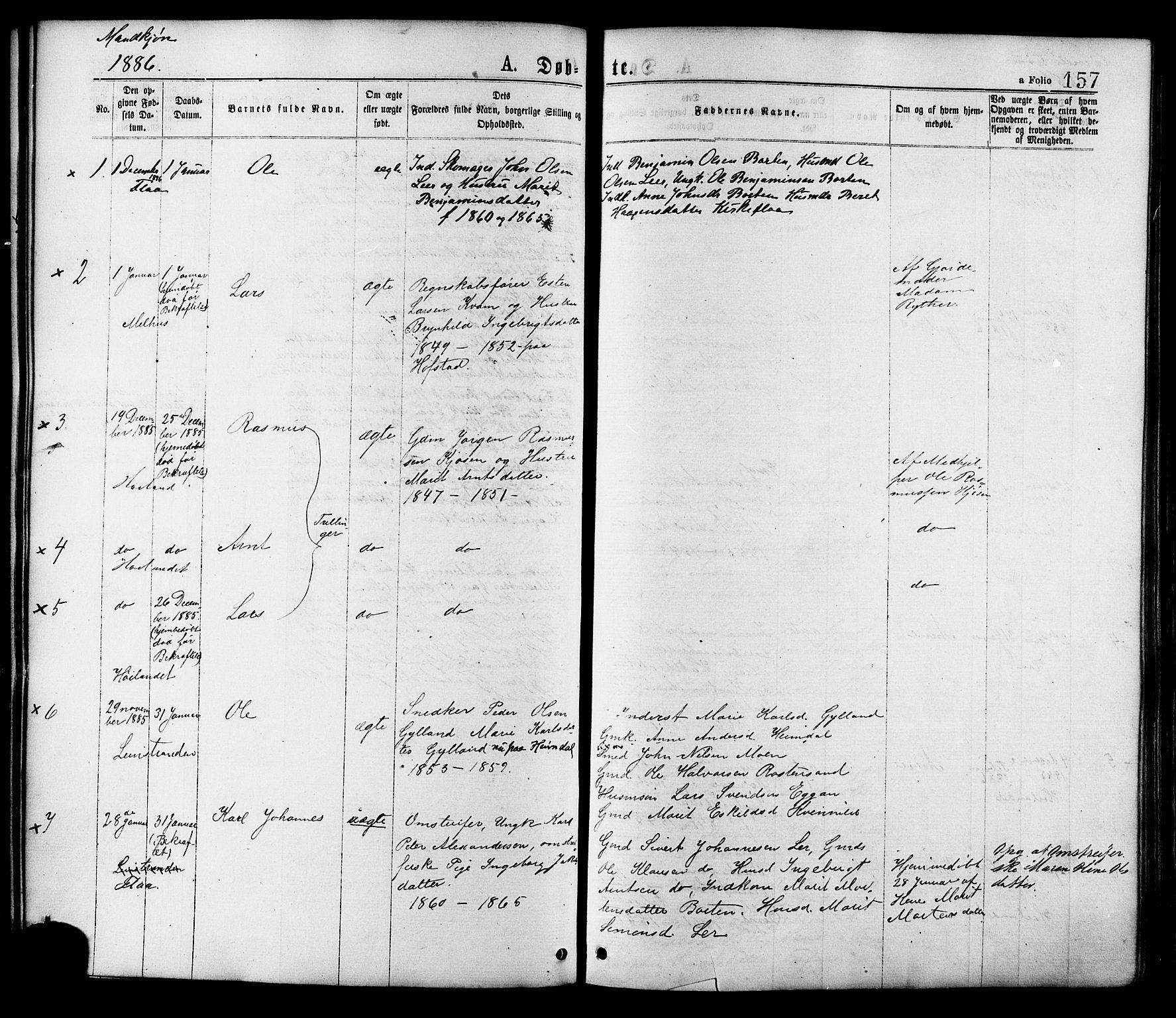 SAT, Ministerialprotokoller, klokkerbøker og fødselsregistre - Sør-Trøndelag, 691/L1079: Ministerialbok nr. 691A11, 1873-1886, s. 157