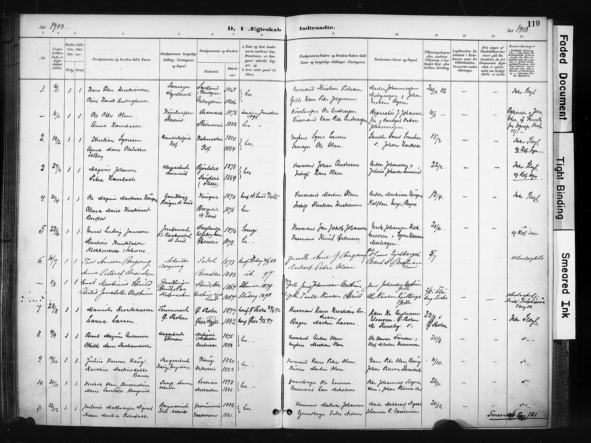 SAH, Søndre Land prestekontor, K/L0004: Ministerialbok nr. 4, 1895-1904, s. 119