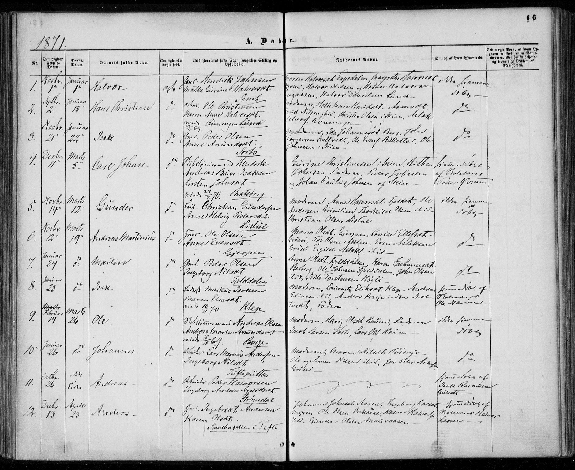 SAKO, Gjerpen kirkebøker, F/Fa/L0008a: Ministerialbok nr. 8A, 1857-1871, s. 66