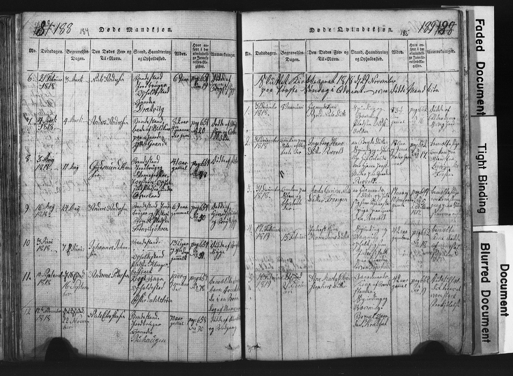 SAT, Ministerialprotokoller, klokkerbøker og fødselsregistre - Nord-Trøndelag, 701/L0017: Klokkerbok nr. 701C01, 1817-1825, s. 184-185