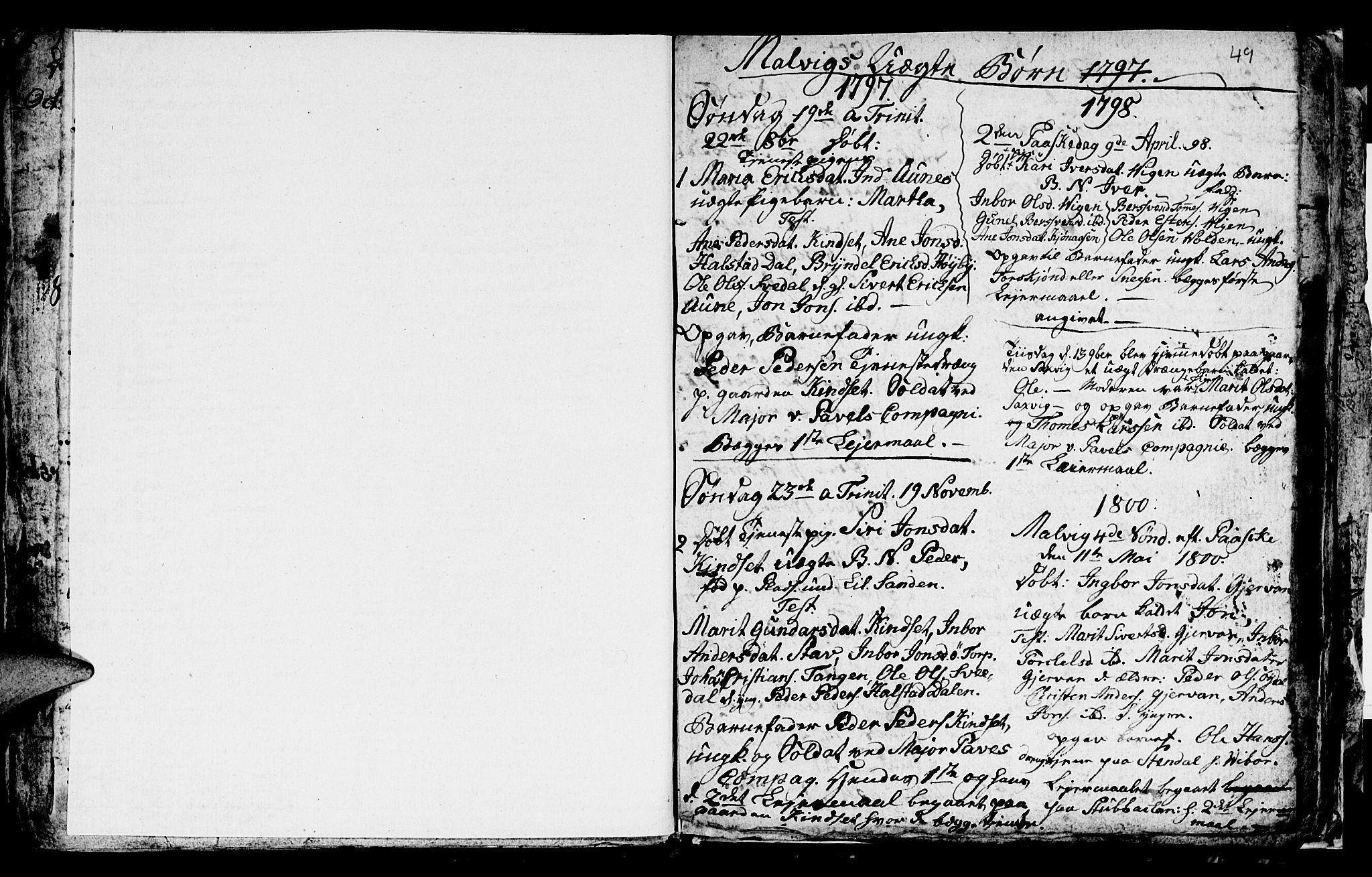 SAT, Ministerialprotokoller, klokkerbøker og fødselsregistre - Sør-Trøndelag, 616/L0419: Klokkerbok nr. 616C02, 1797-1816, s. 49