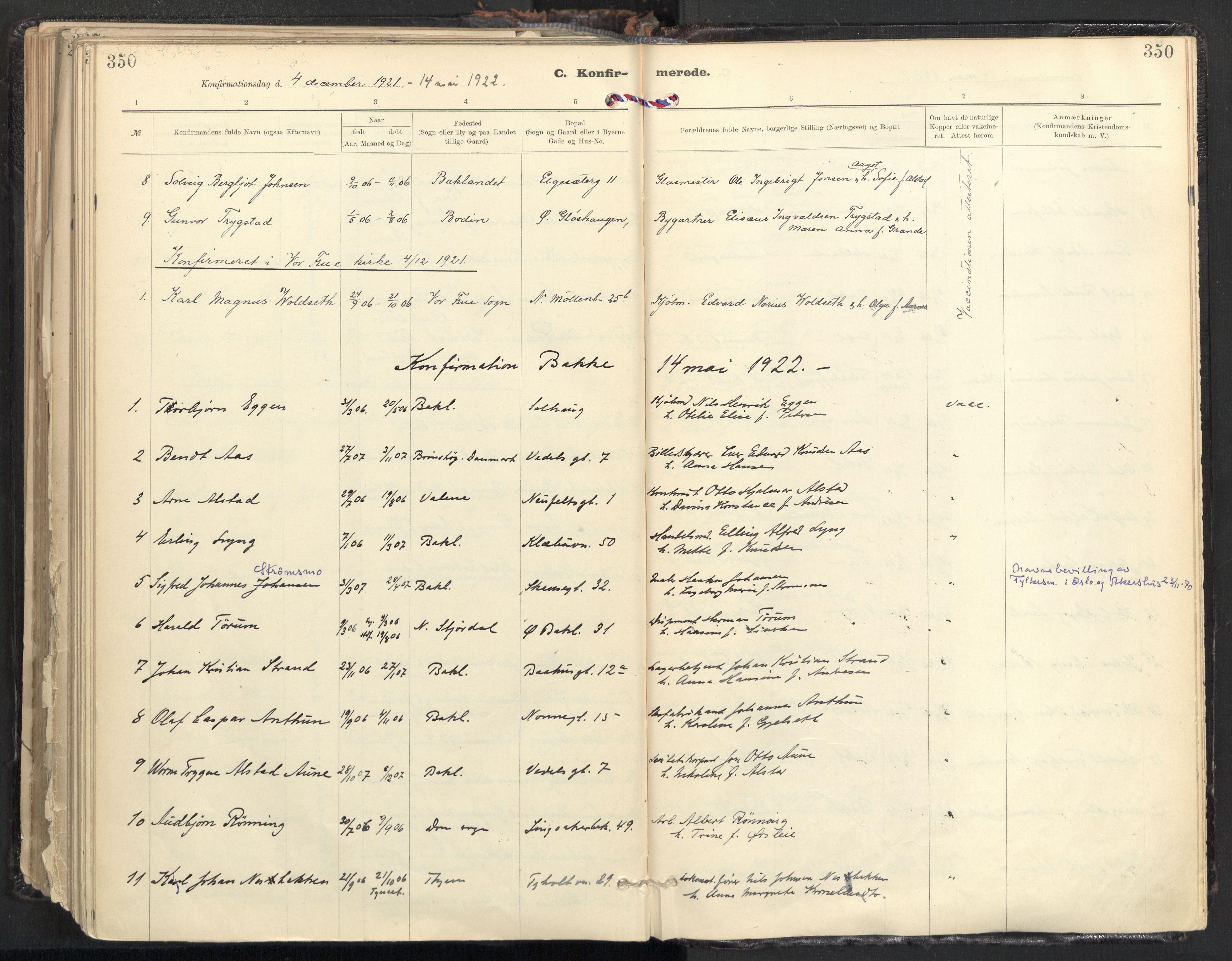 SAT, Ministerialprotokoller, klokkerbøker og fødselsregistre - Sør-Trøndelag, 604/L0205: Ministerialbok nr. 604A25, 1917-1932, s. 350