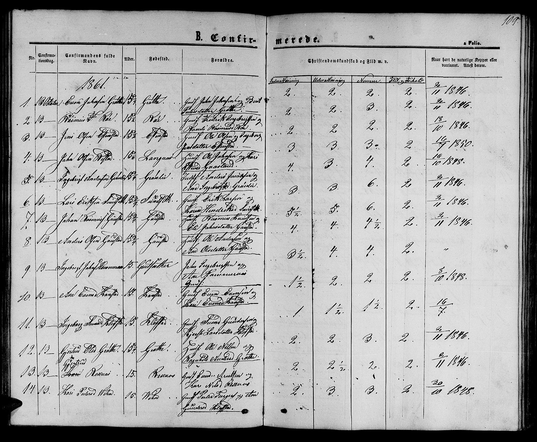 SAT, Ministerialprotokoller, klokkerbøker og fødselsregistre - Sør-Trøndelag, 694/L1131: Klokkerbok nr. 694C03, 1858-1886, s. 109