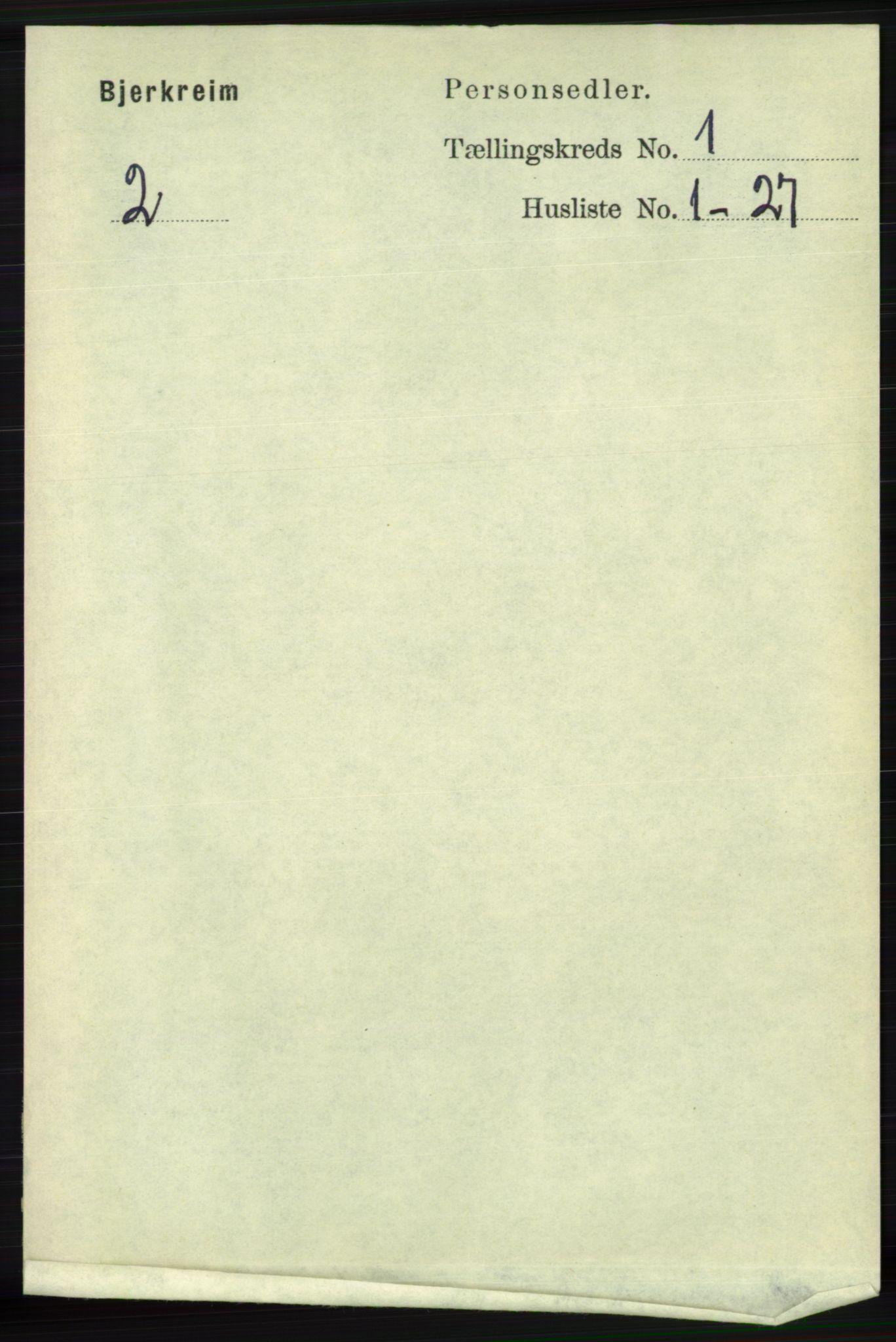 RA, Folketelling 1891 for 1114 Bjerkreim herred, 1891, s. 94