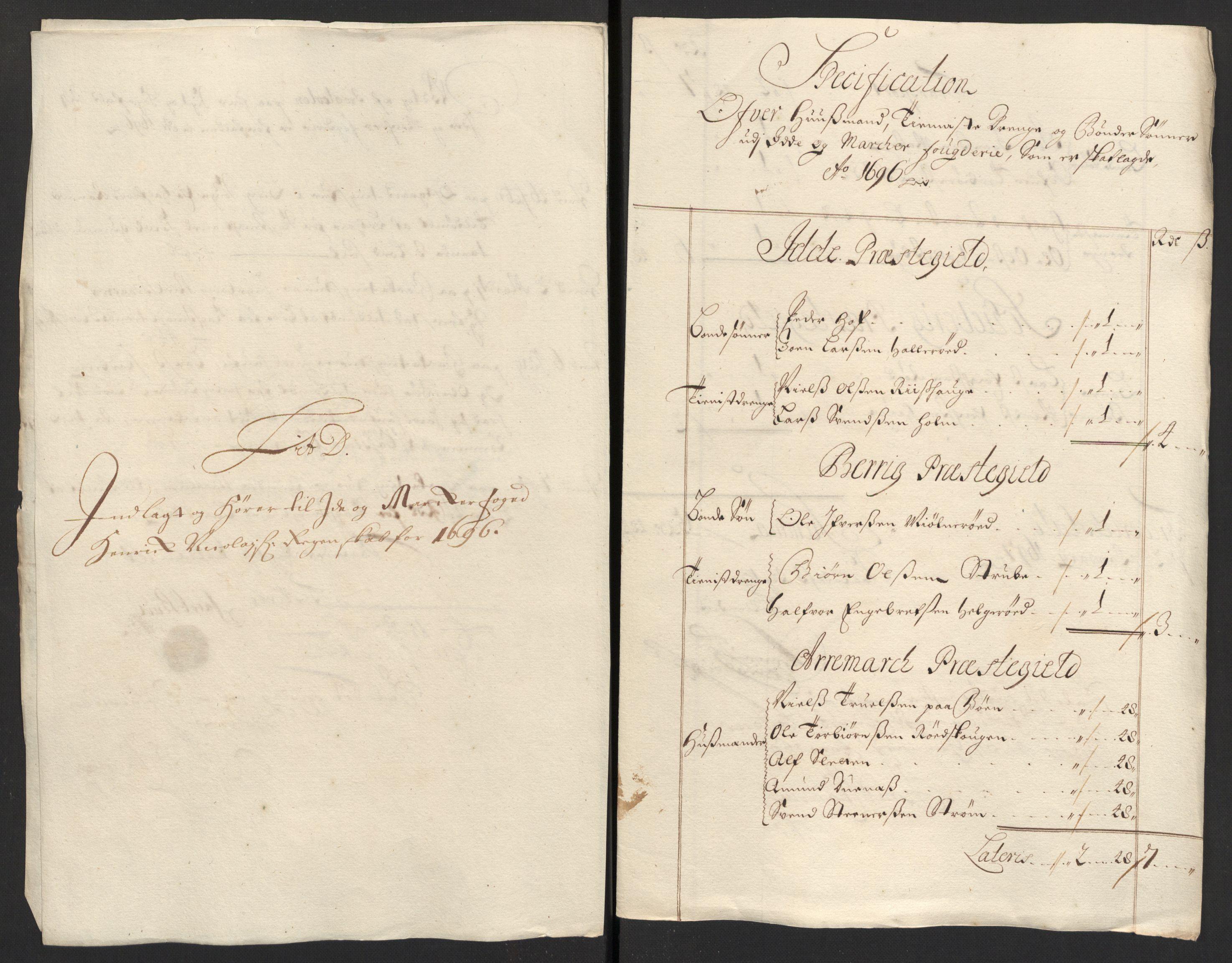 RA, Rentekammeret inntil 1814, Reviderte regnskaper, Fogderegnskap, R01/L0013: Fogderegnskap Idd og Marker, 1696-1698, s. 114