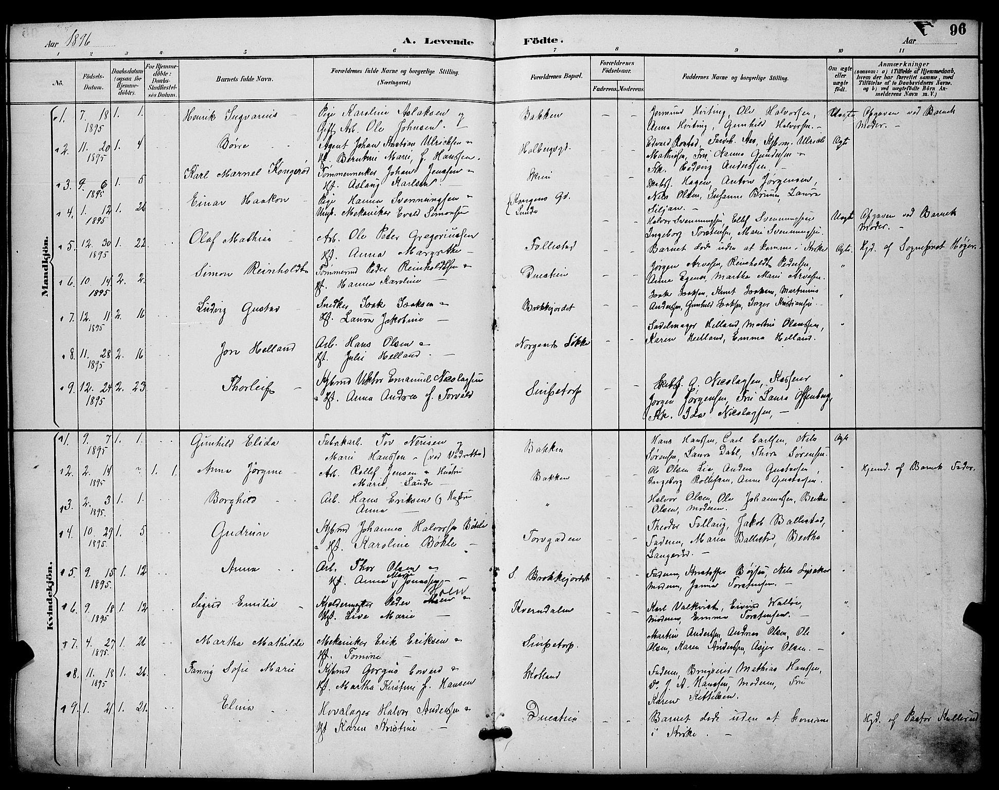 SAKO, Skien kirkebøker, G/Ga/L0007: Klokkerbok nr. 7, 1891-1900, s. 96