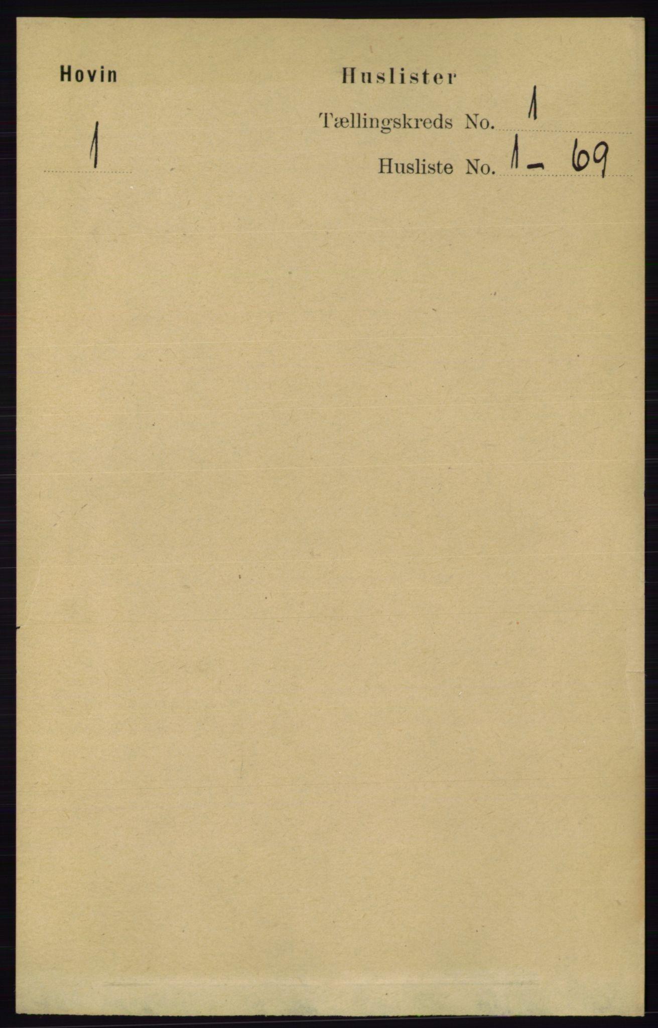 RA, Folketelling 1891 for 0825 Hovin herred, 1891, s. 16