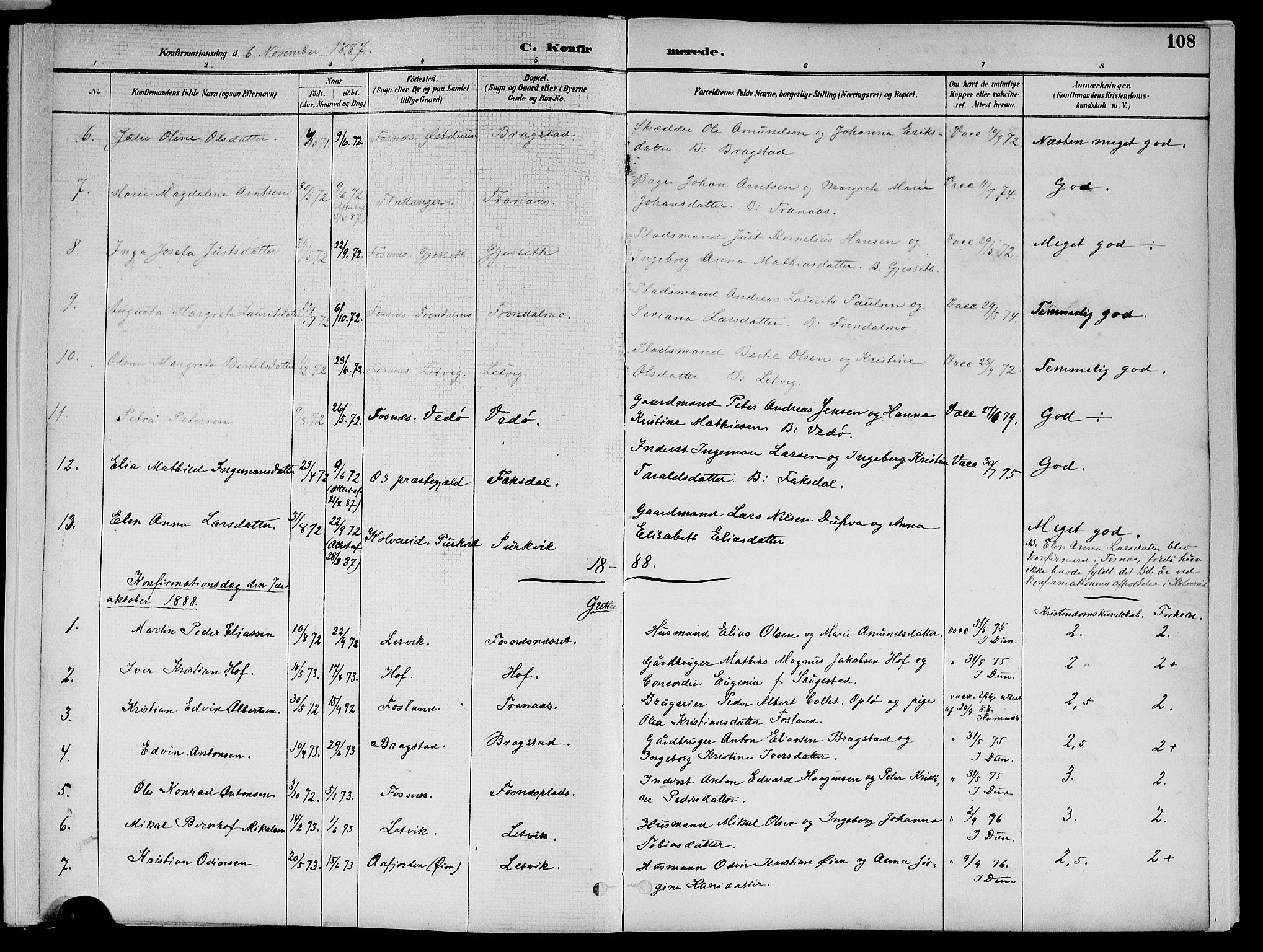 SAT, Ministerialprotokoller, klokkerbøker og fødselsregistre - Nord-Trøndelag, 773/L0617: Ministerialbok nr. 773A08, 1887-1910, s. 108