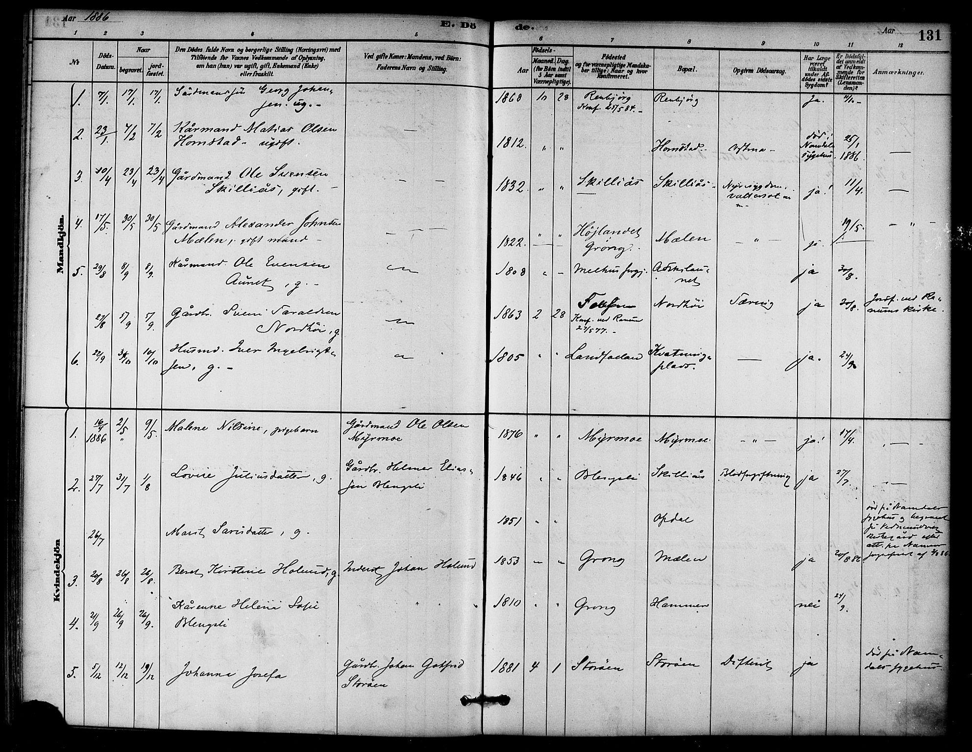 SAT, Ministerialprotokoller, klokkerbøker og fødselsregistre - Nord-Trøndelag, 766/L0563: Ministerialbok nr. 767A01, 1881-1899, s. 131