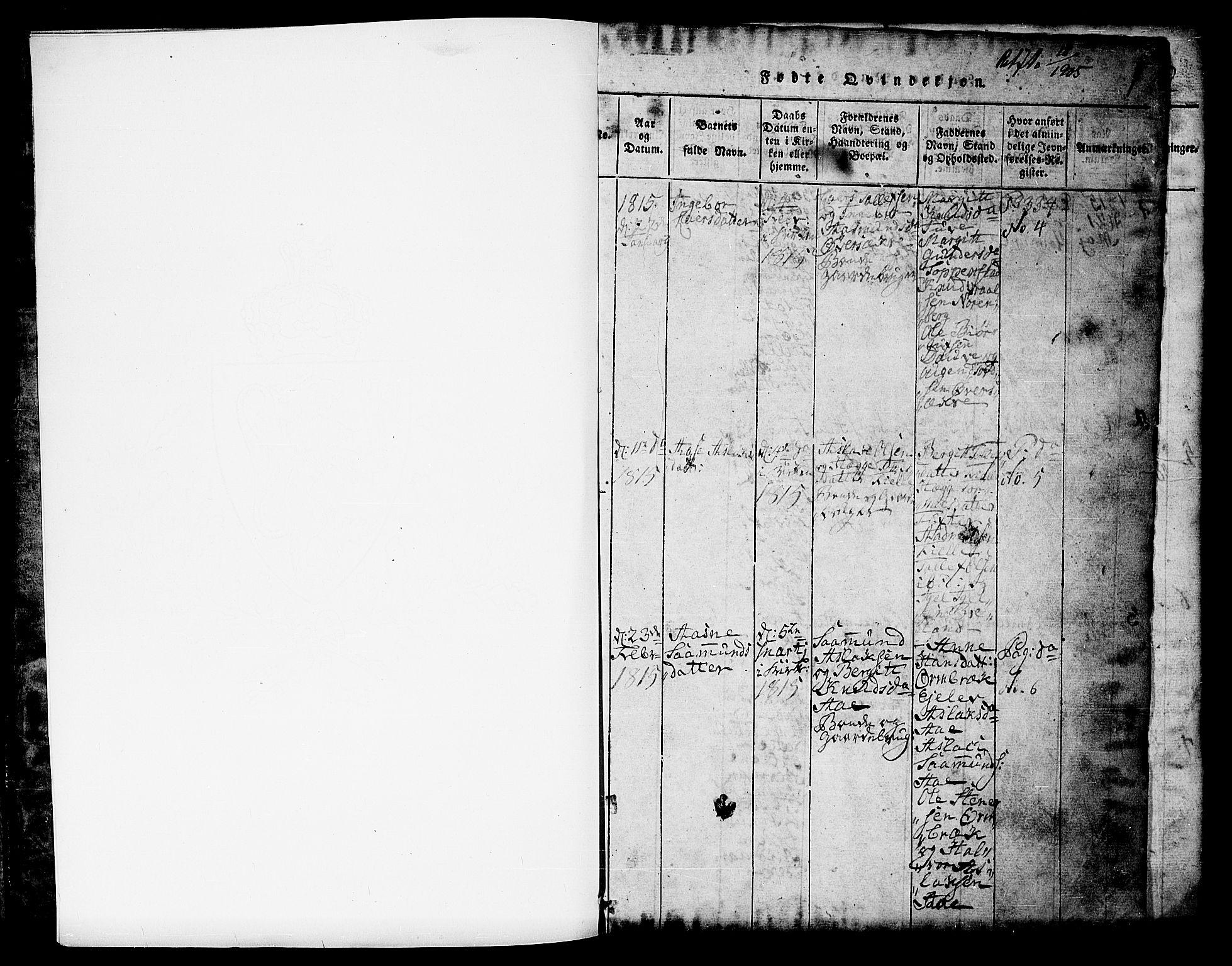 SAKO, Lårdal kirkebøker, G/Gc/L0001: Klokkerbok nr. III 1, 1815-1854, s. 1