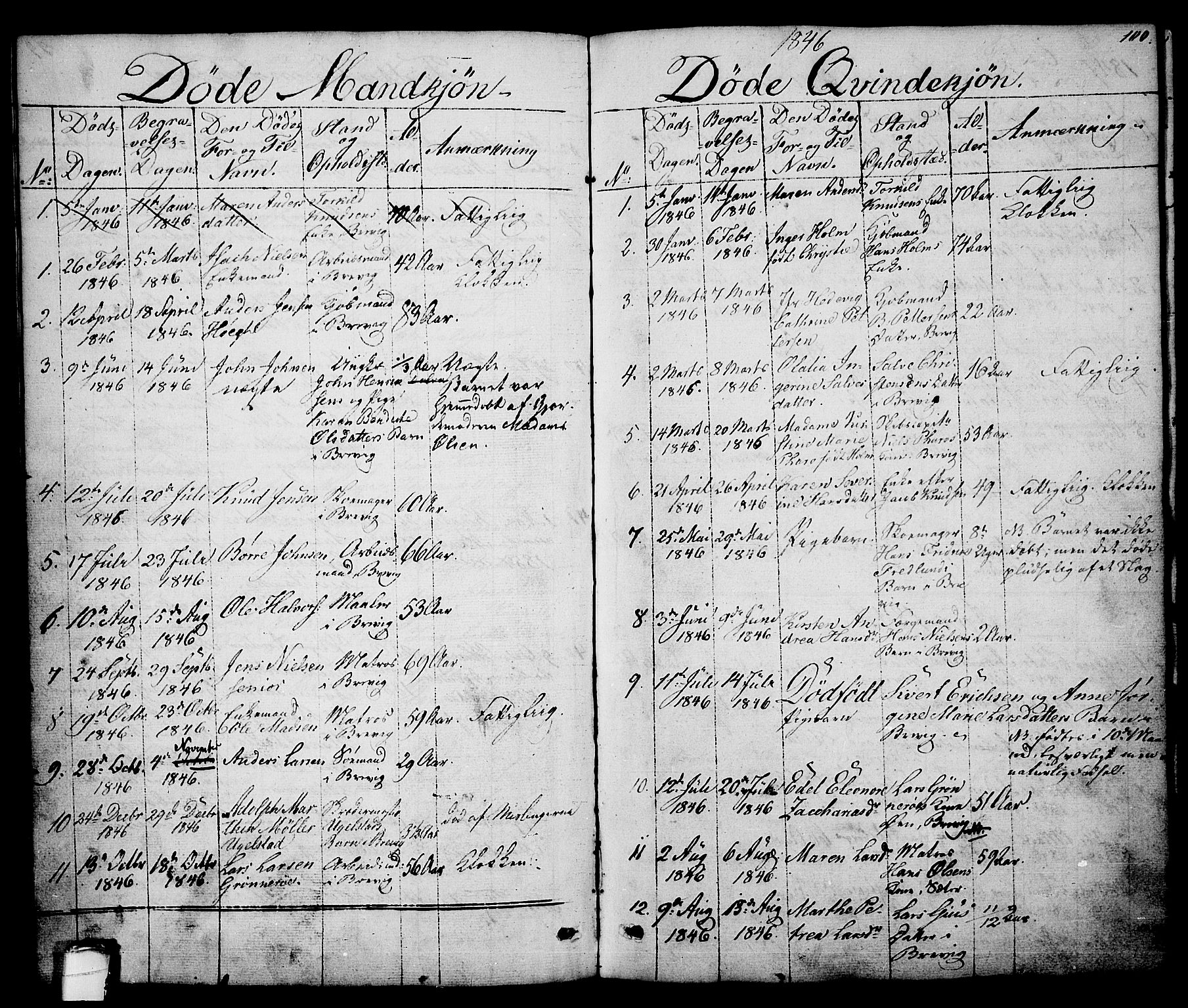 SAKO, Brevik kirkebøker, G/Ga/L0002: Klokkerbok nr. 2, 1846-1865, s. 100