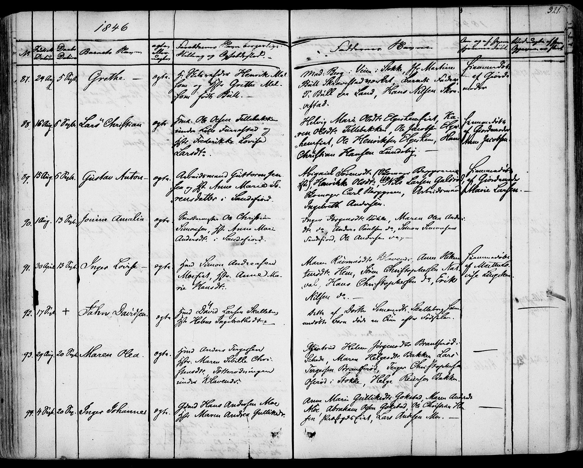 SAKO, Sandar kirkebøker, F/Fa/L0005: Ministerialbok nr. 5, 1832-1847, s. 320-321