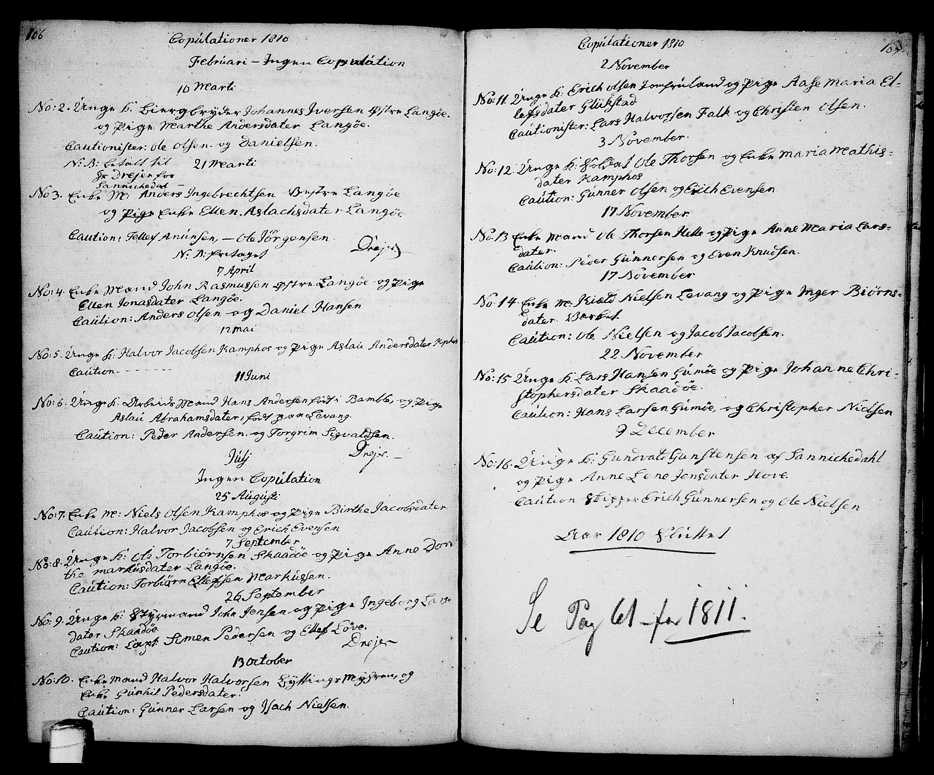 SAKO, Kragerø kirkebøker, G/Ga/L0001: Klokkerbok nr. 1 /2, 1806-1811, s. 106-107