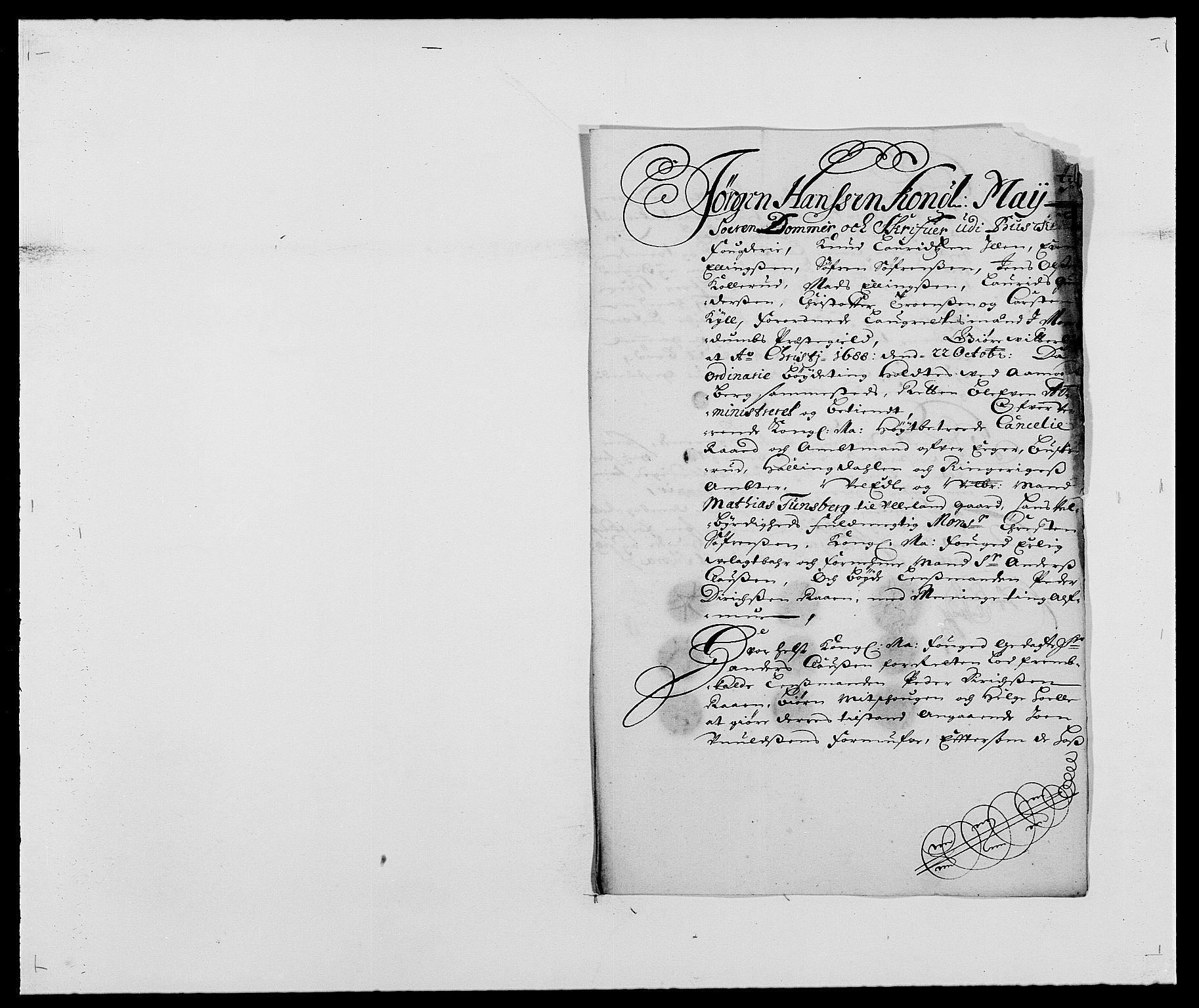 RA, Rentekammeret inntil 1814, Reviderte regnskaper, Fogderegnskap, R25/L1679: Fogderegnskap Buskerud, 1687-1688, s. 289