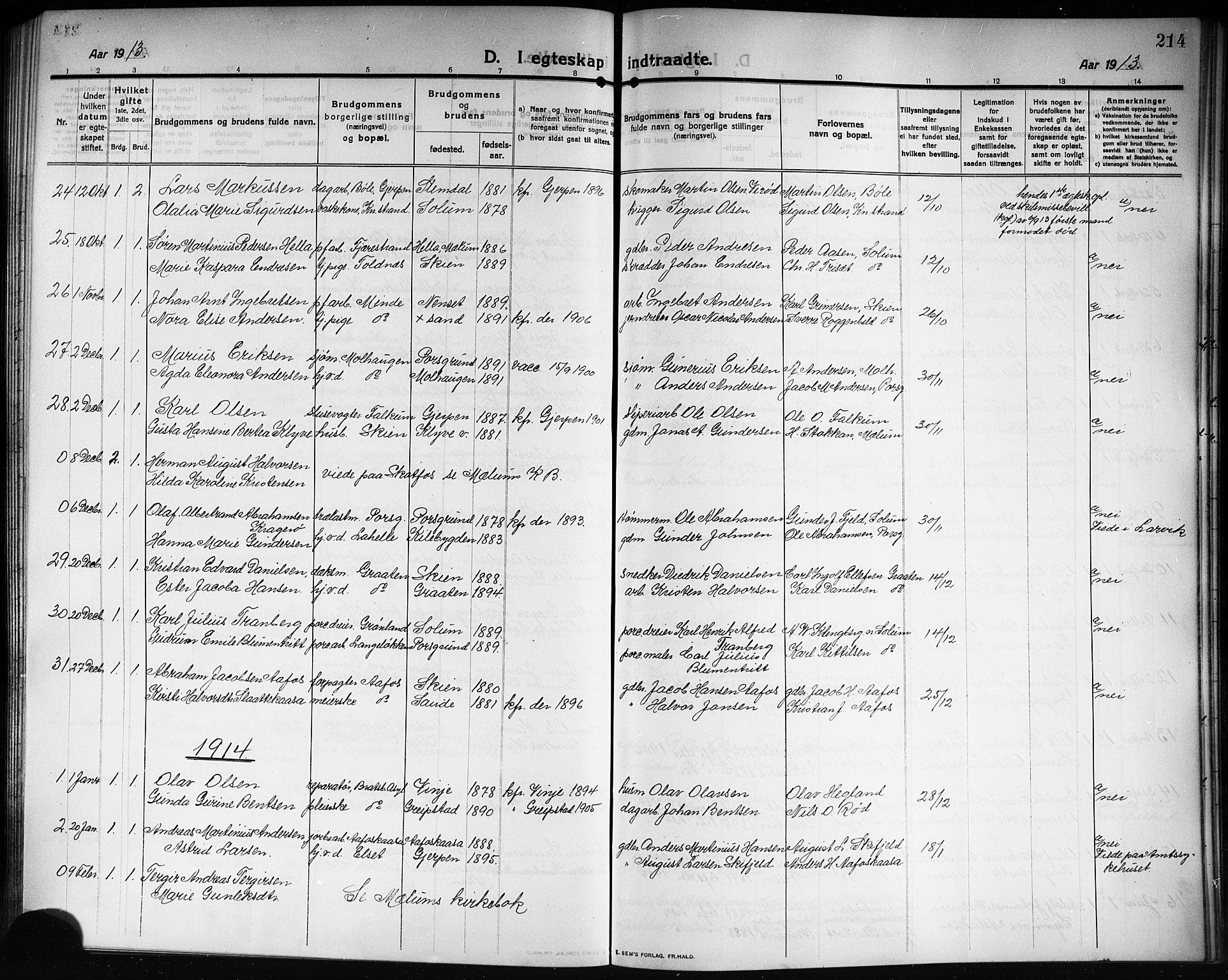 SAKO, Solum kirkebøker, G/Ga/L0009: Klokkerbok nr. I 9, 1909-1922, s. 214