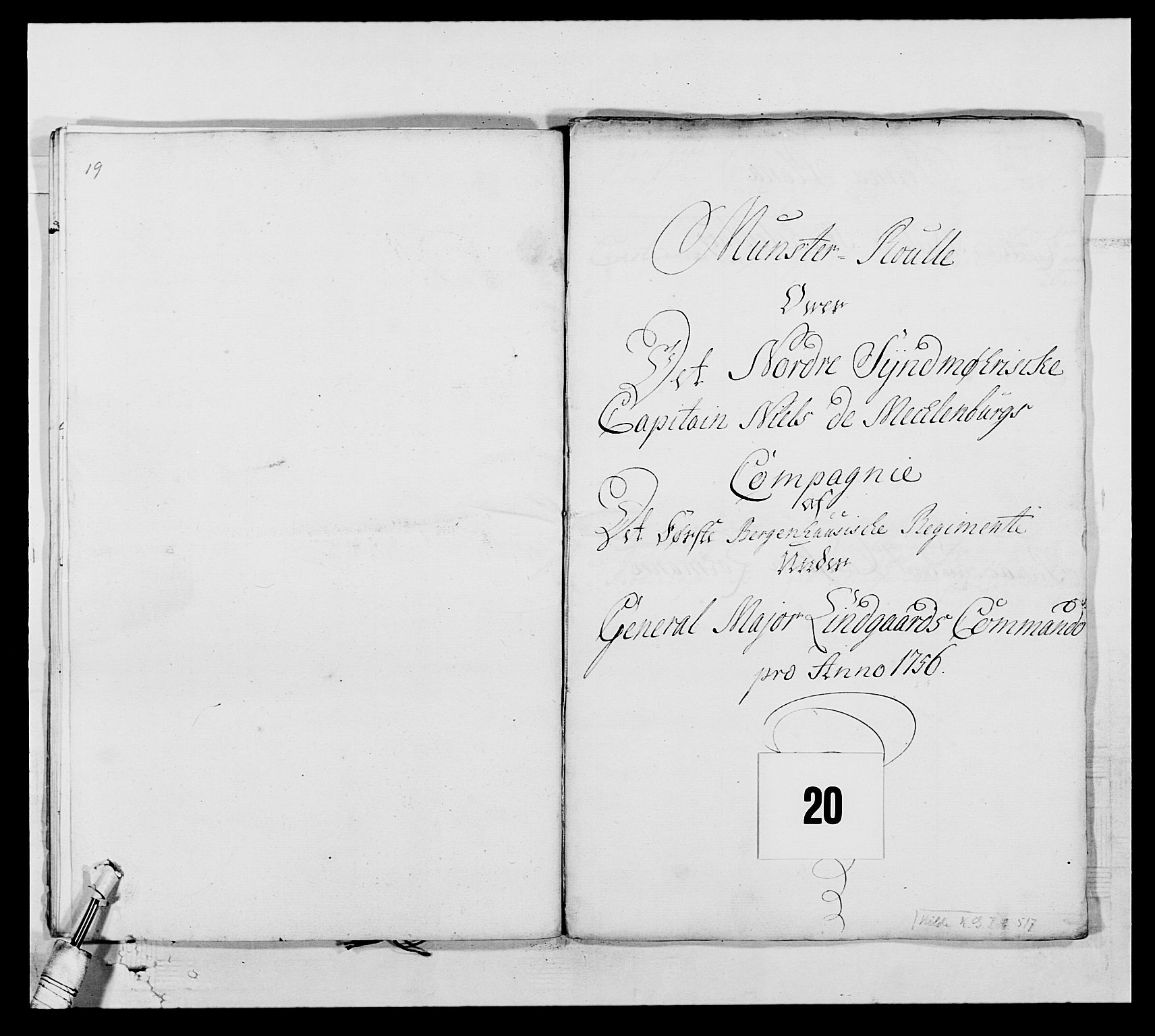 RA, Kommanderende general (KG I) med Det norske krigsdirektorium, E/Ea/L0517: 1. Bergenhusiske regiment, 1742-1756, s. 240