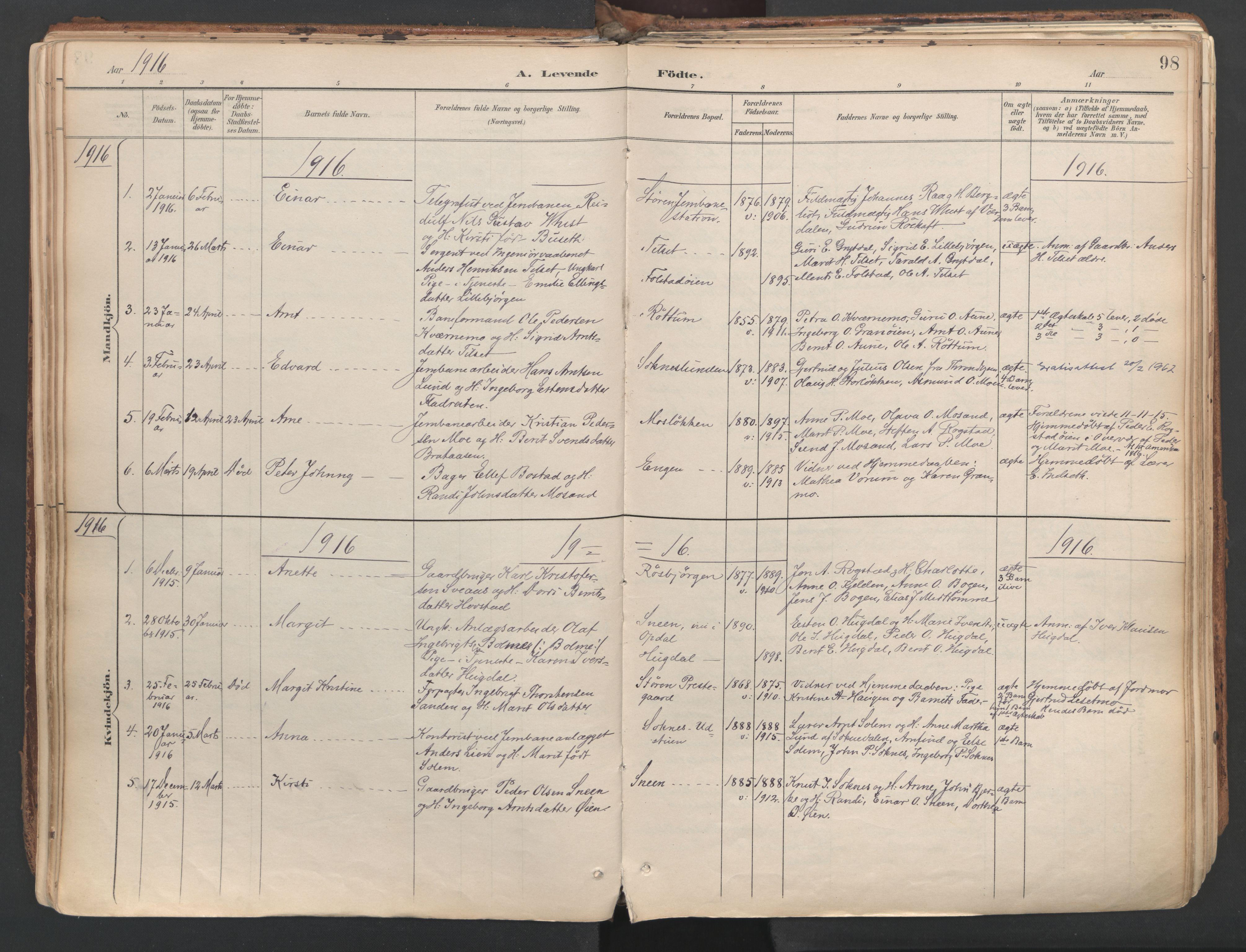 SAT, Ministerialprotokoller, klokkerbøker og fødselsregistre - Sør-Trøndelag, 687/L1004: Ministerialbok nr. 687A10, 1891-1923, s. 98