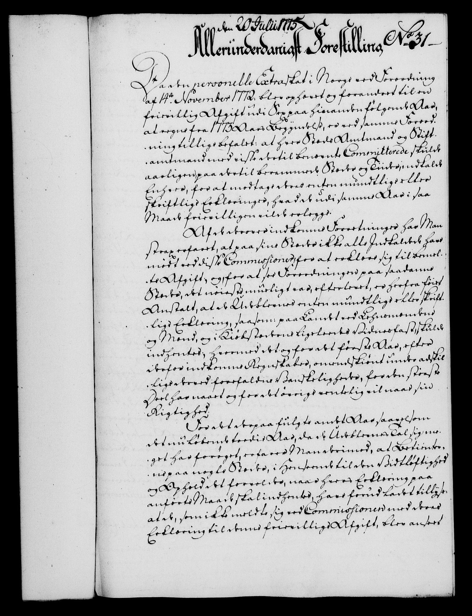 RA, Rentekammeret, Kammerkanselliet, G/Gf/Gfa/L0057: Norsk relasjons- og resolusjonsprotokoll (merket RK 52.57), 1775, s. 135
