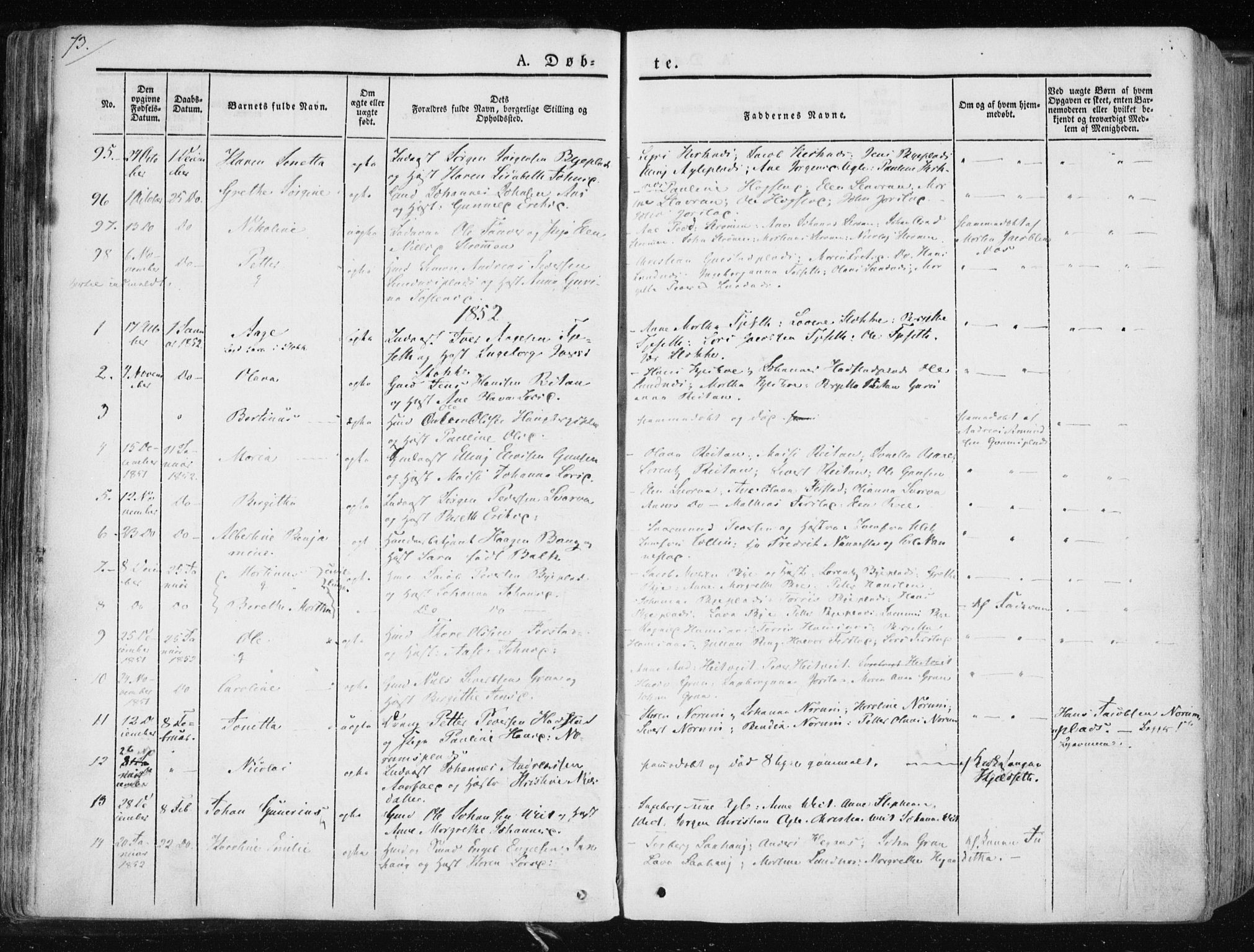 SAT, Ministerialprotokoller, klokkerbøker og fødselsregistre - Nord-Trøndelag, 730/L0280: Ministerialbok nr. 730A07 /1, 1840-1854, s. 73