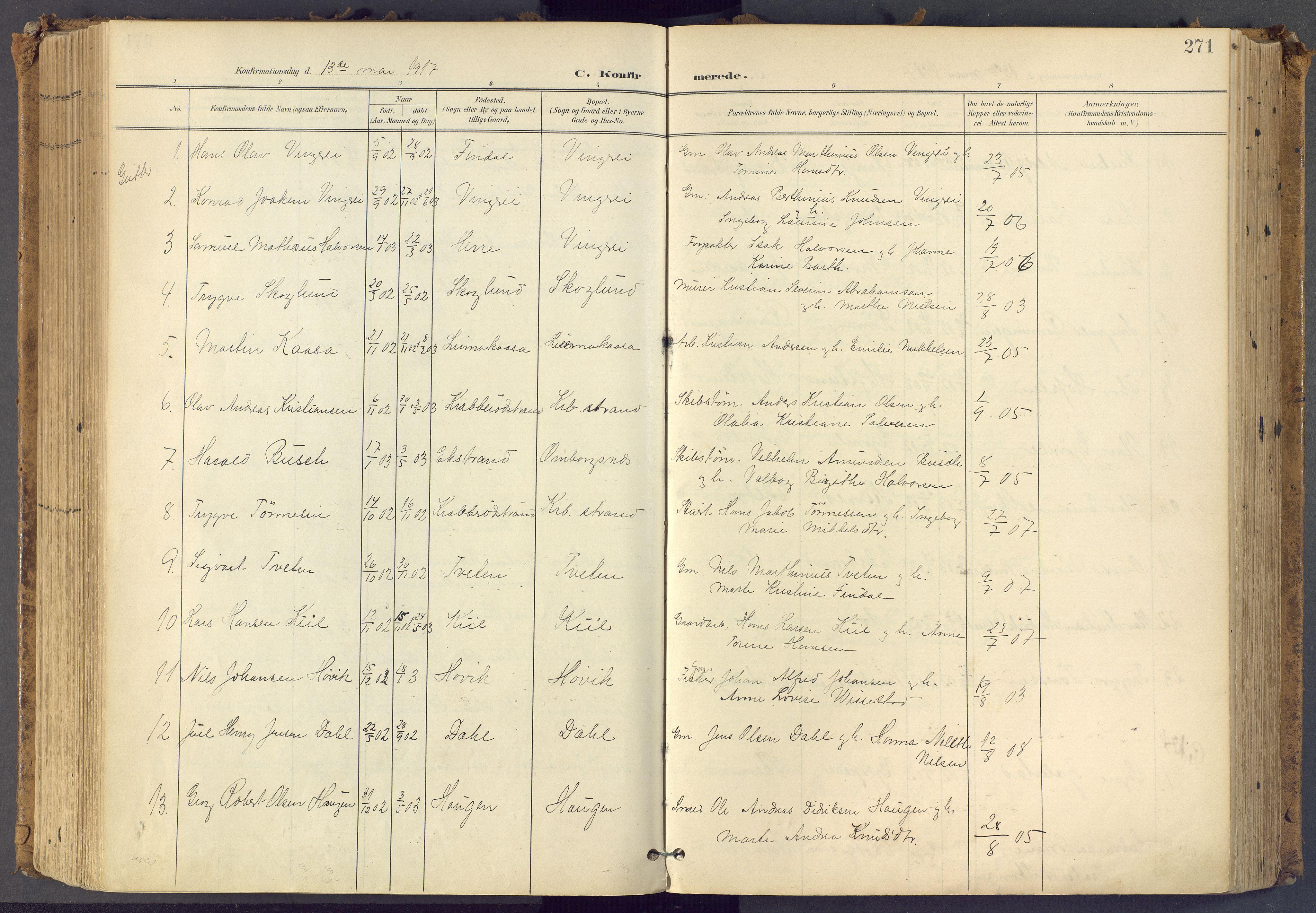 SAKO, Bamble kirkebøker, F/Fa/L0009: Ministerialbok nr. I 9, 1901-1917, s. 271