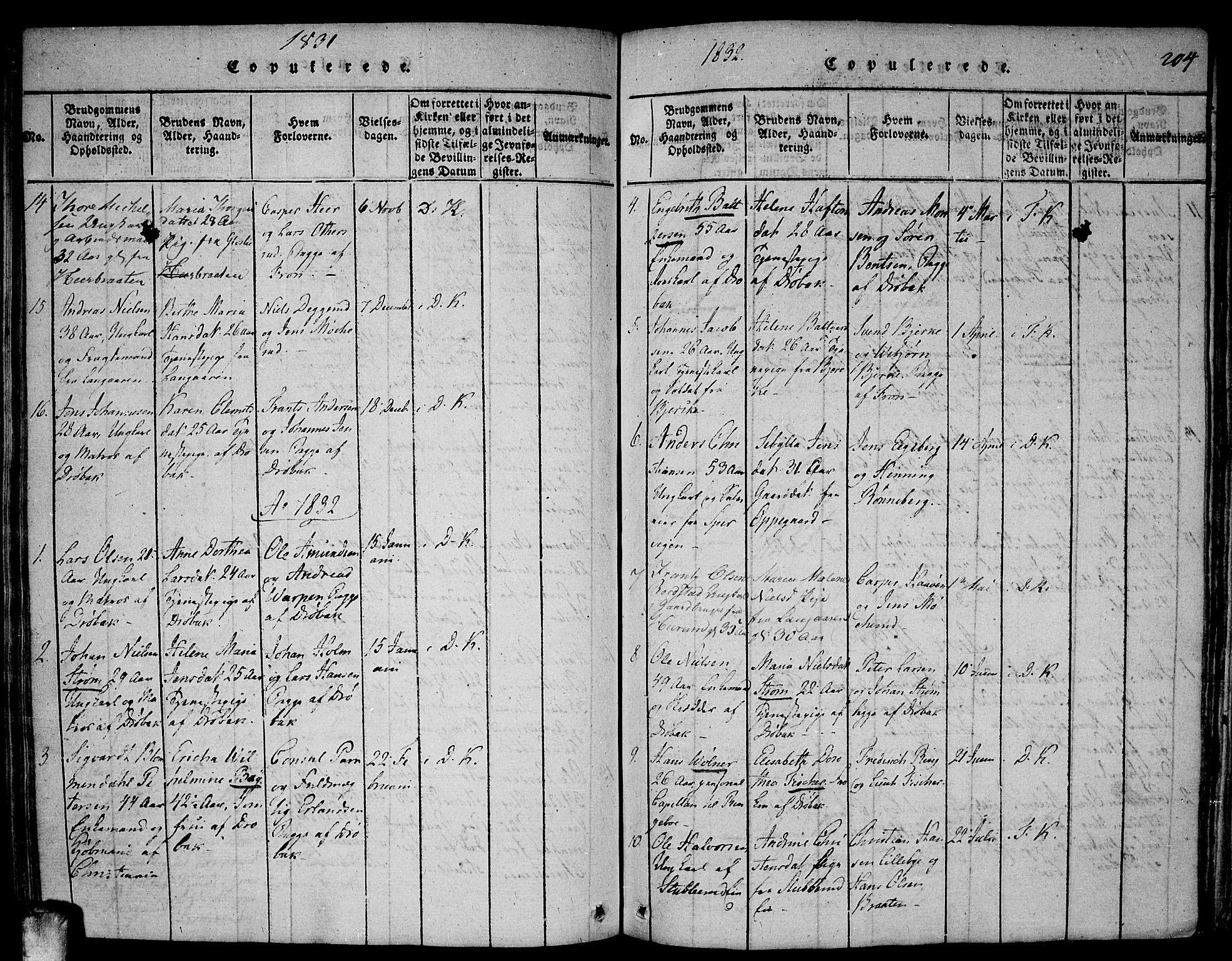 SAO, Drøbak prestekontor Kirkebøker, F/Fa/L0001: Ministerialbok nr. I 1, 1816-1842, s. 204