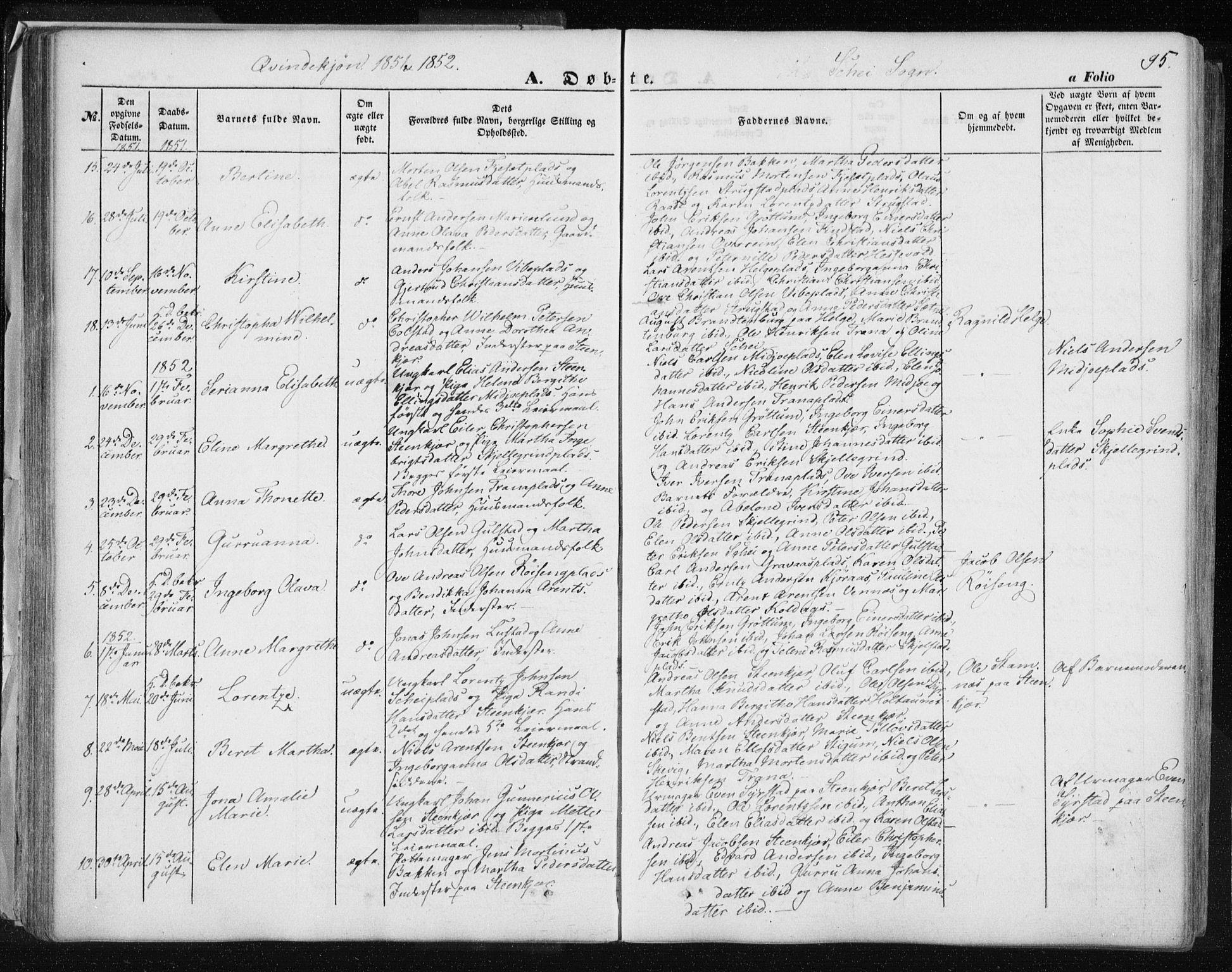 SAT, Ministerialprotokoller, klokkerbøker og fødselsregistre - Nord-Trøndelag, 735/L0342: Ministerialbok nr. 735A07 /2, 1849-1862, s. 95